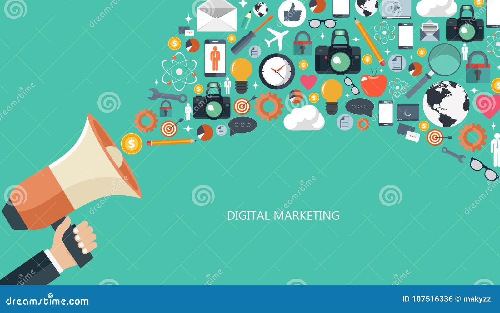 Vente de Digital et concept de la publicité Illustration plate