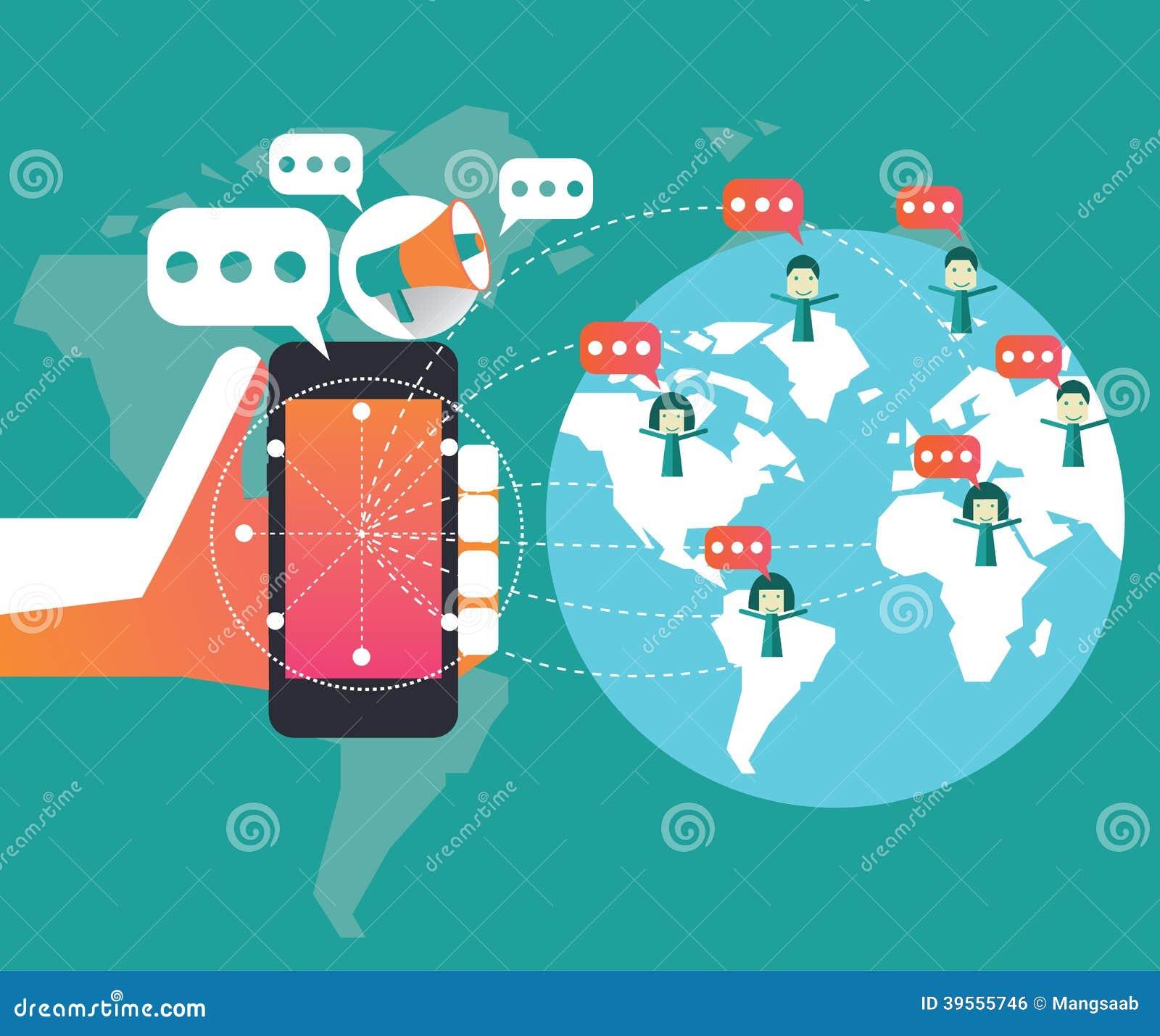 Vente de Digital et concept social de réseau Élément plat de conception