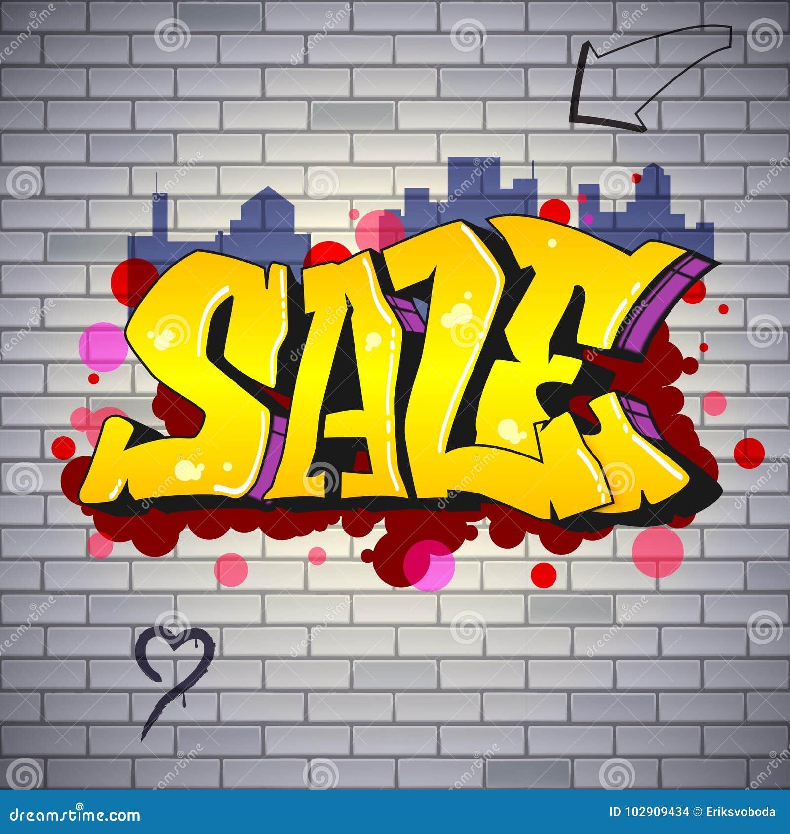 Vente marquant avec des lettres en hip hop style de graffiti art de