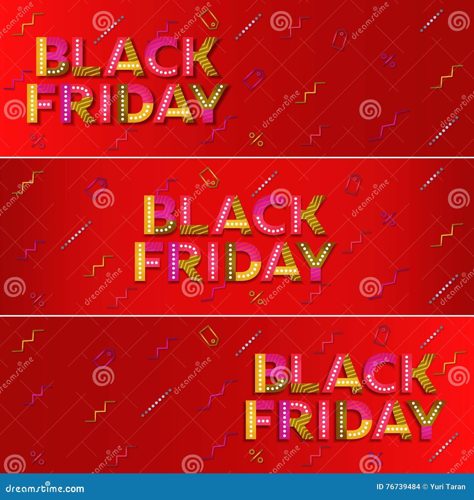 Vente noire de vendredi Bannière rouge de Web advertising