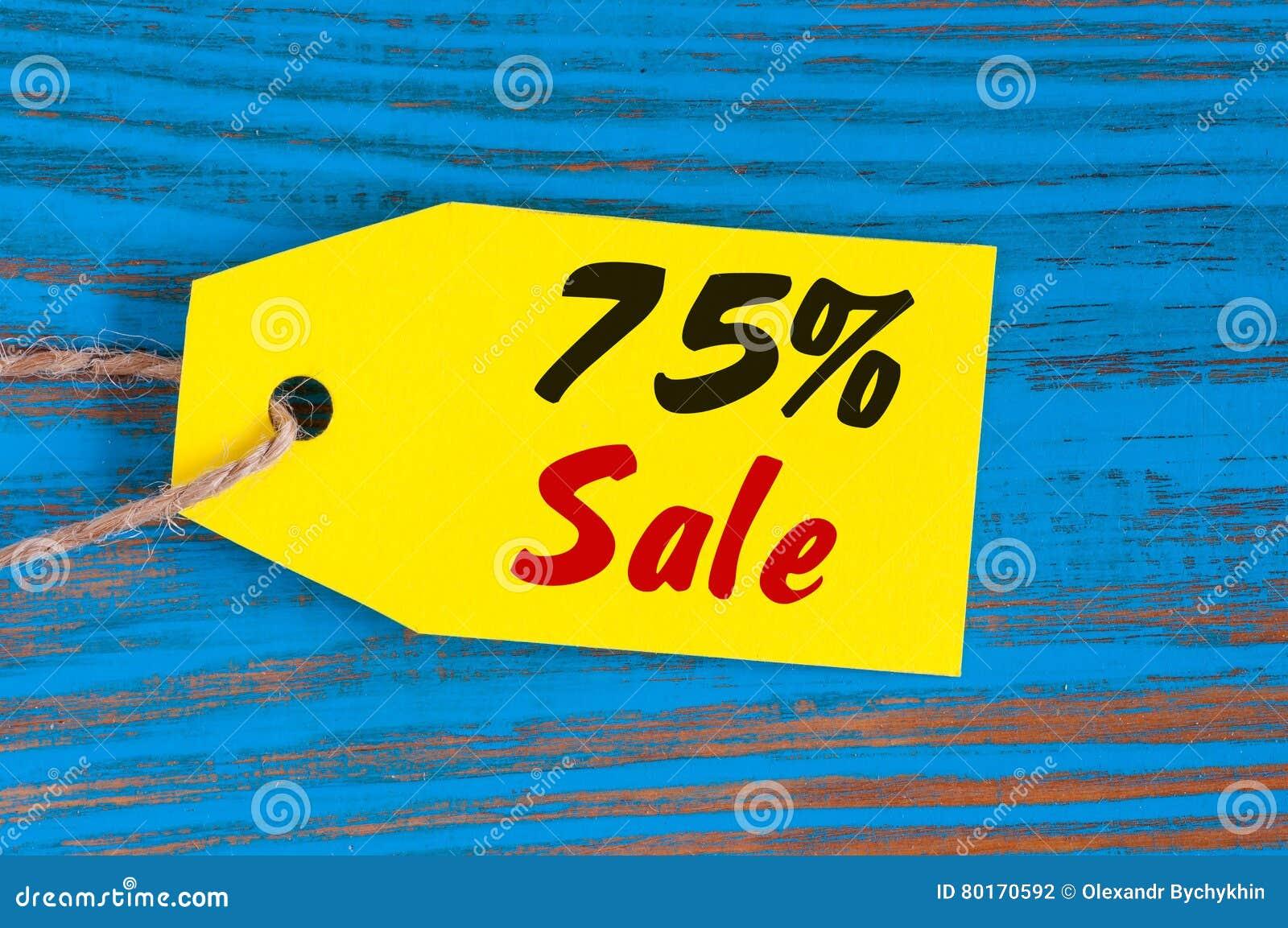 Vente sans 75 pour cent Grandes ventes soixante-quinze pour cent sur le fond en bois bleu pour l insecte, affiche, achats, signe