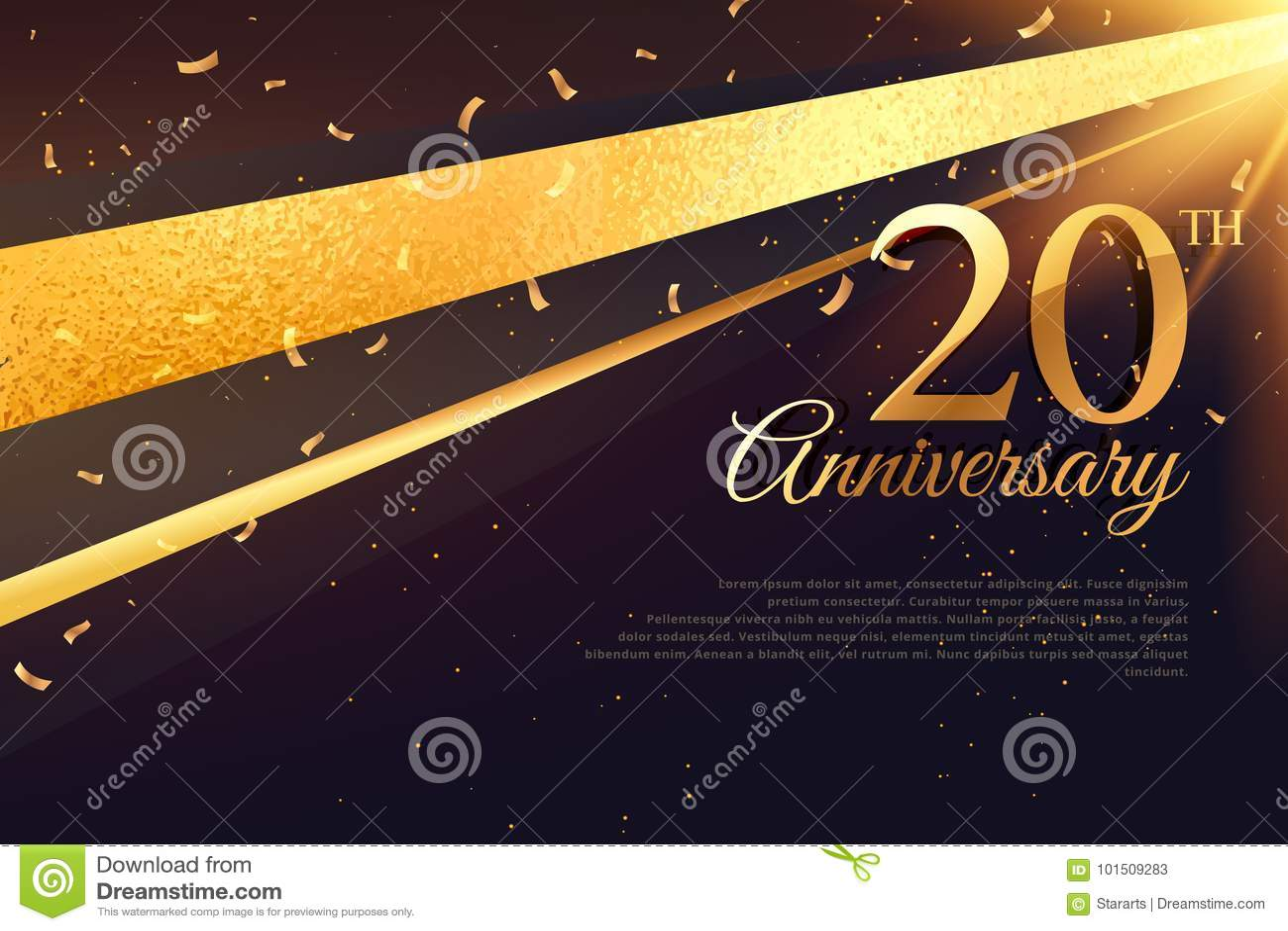 Ventesimo modello della carta di celebrazione di anniversario