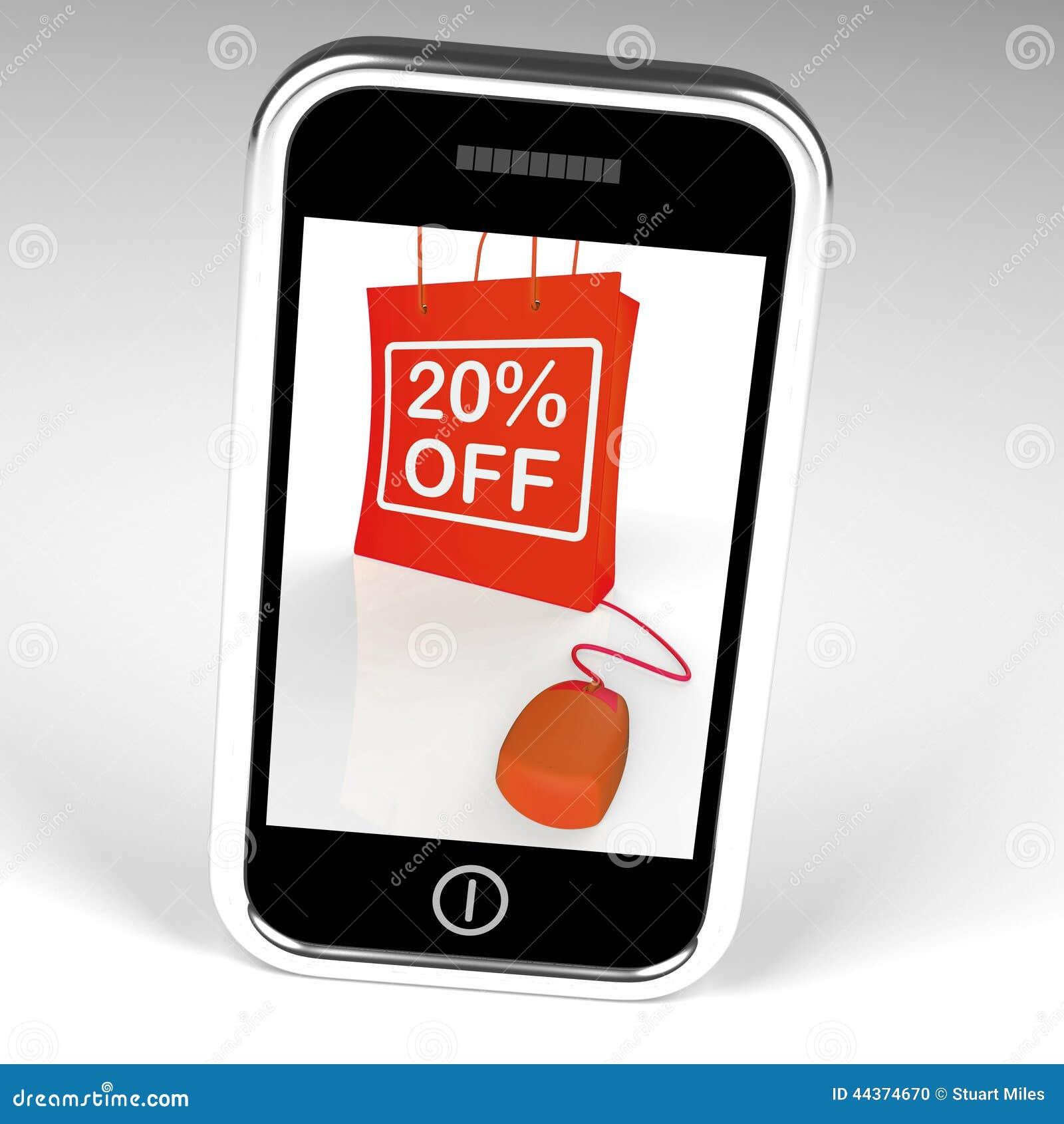 Venti per cento fuori dalla borsa visualizzano online 20 vendite e sconti