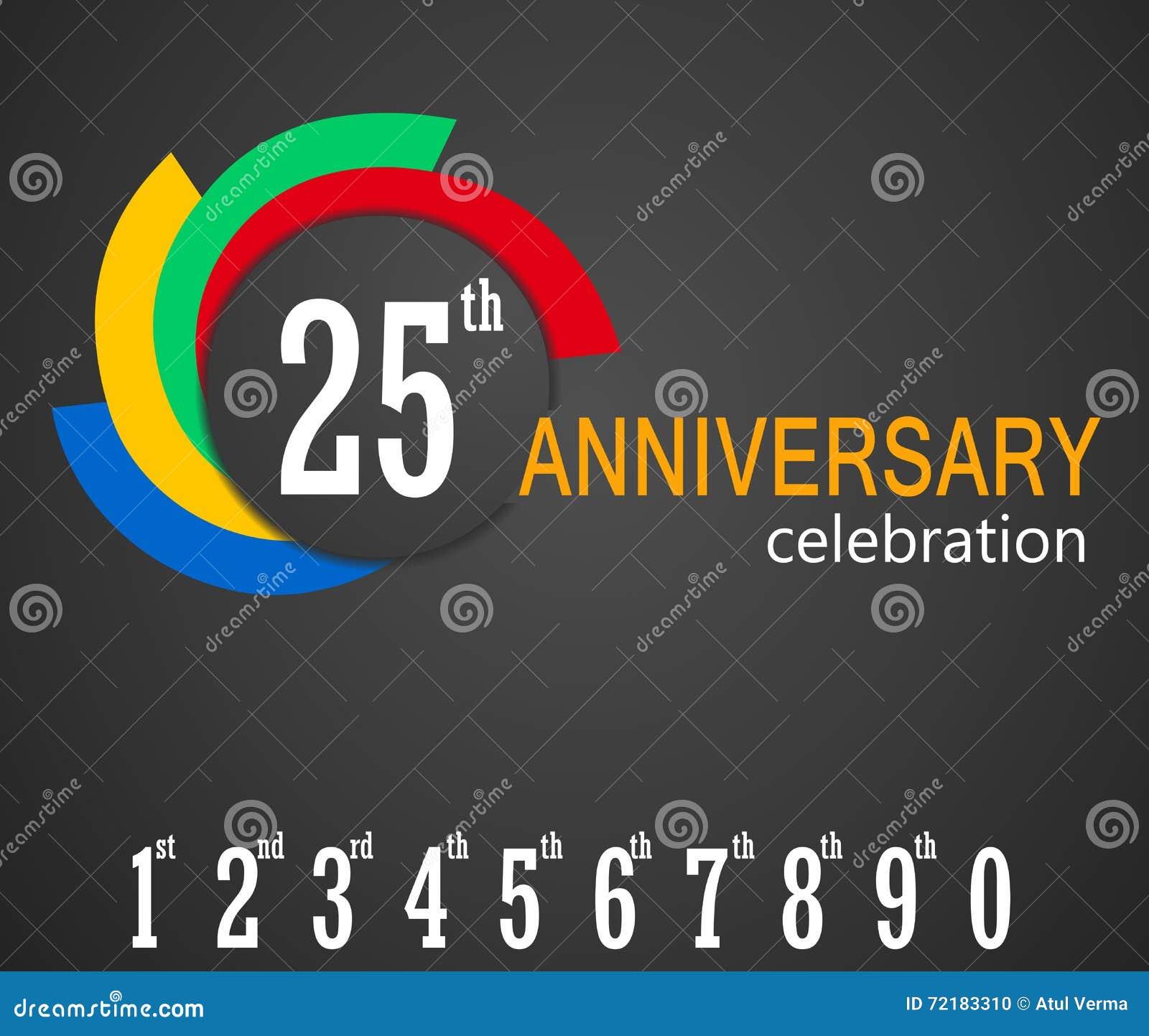 Venticinquesimo fondo di celebrazione di anniversario, 25 anni di anniversario di illustrazione della carta