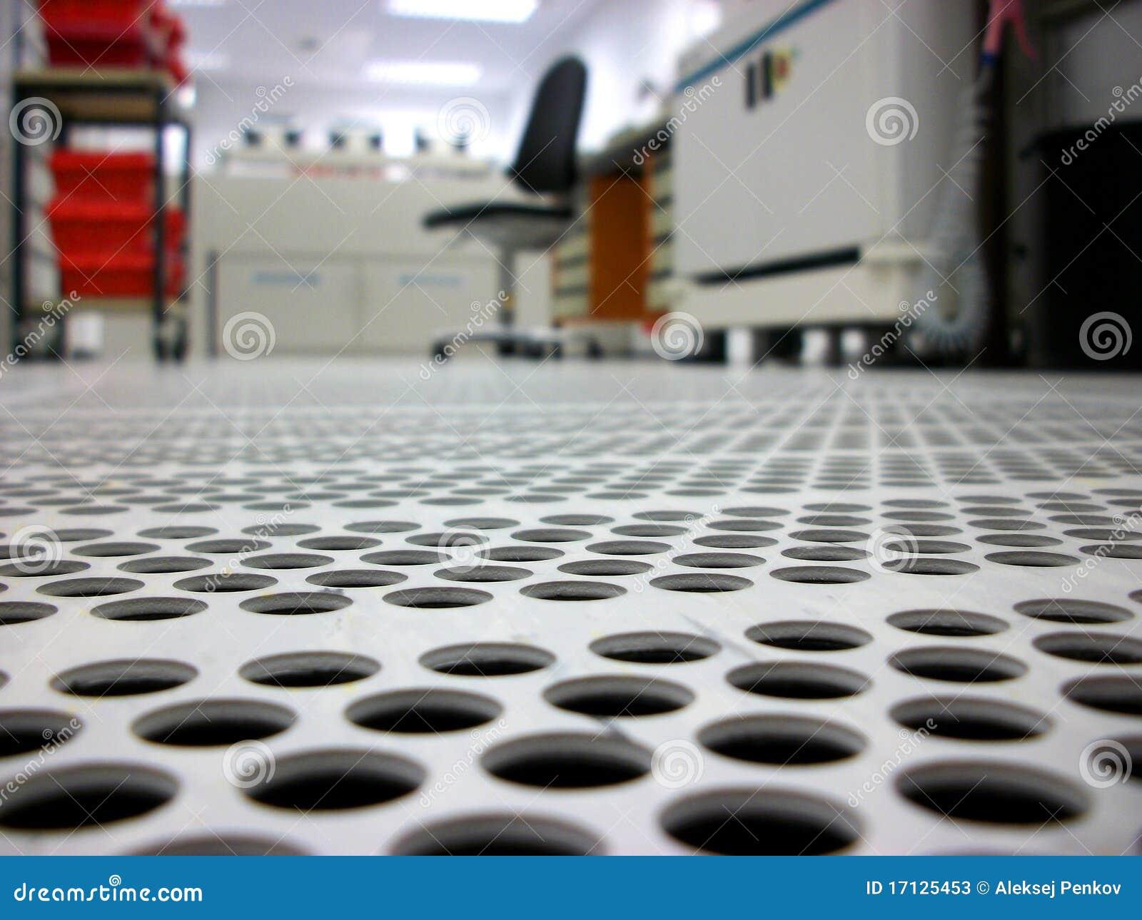 Clean Room Flooring : Ventilated floor in a clean room stock image