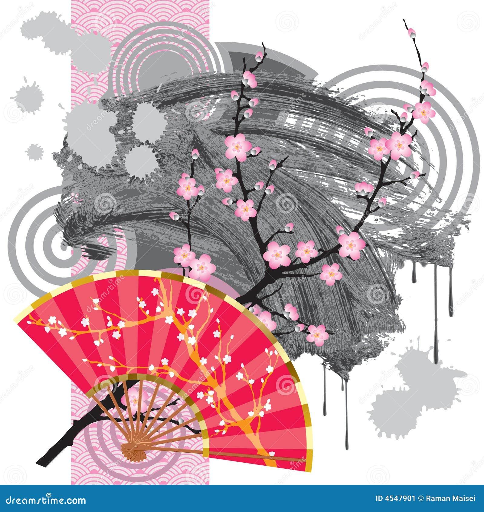 La version de trame du ventilateur du japon de vecteur avec un