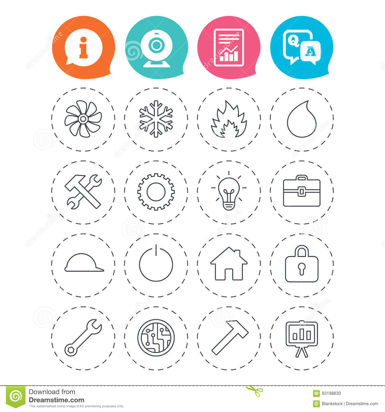 Ventilation, Heat And Air Conditioning Icons  Stock Vector
