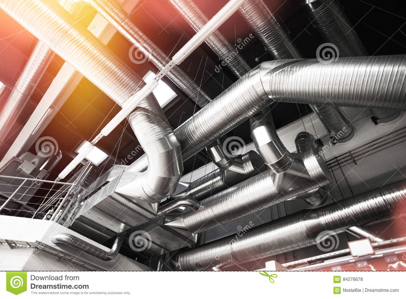 Industrial Air Pipes : Ventilation pipes of an air condition stock photo image