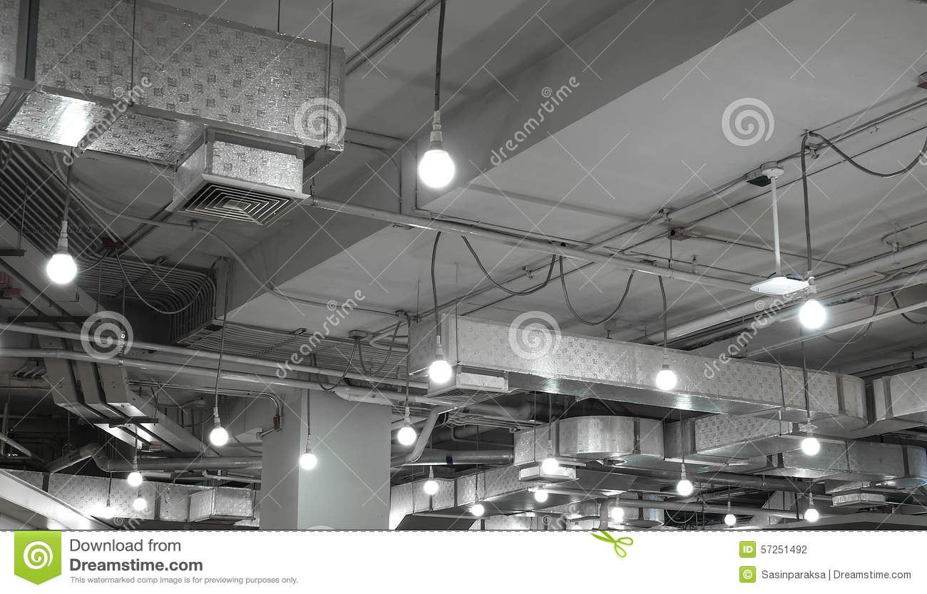 Ventilation System And Light Bulb In Modern Building Stock