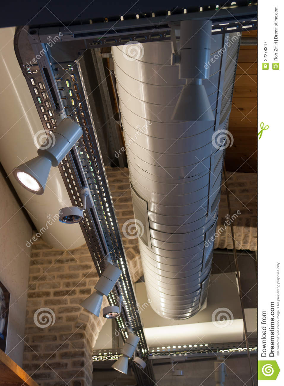 ventilation system in a modern factory stock image - image of iron