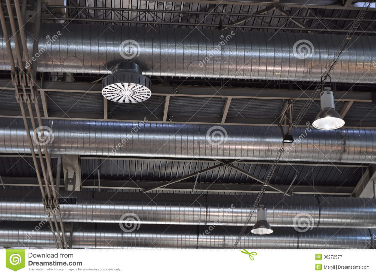 Industrial Ventilation Ducts : Ventilation tubes ducts stock image of metal