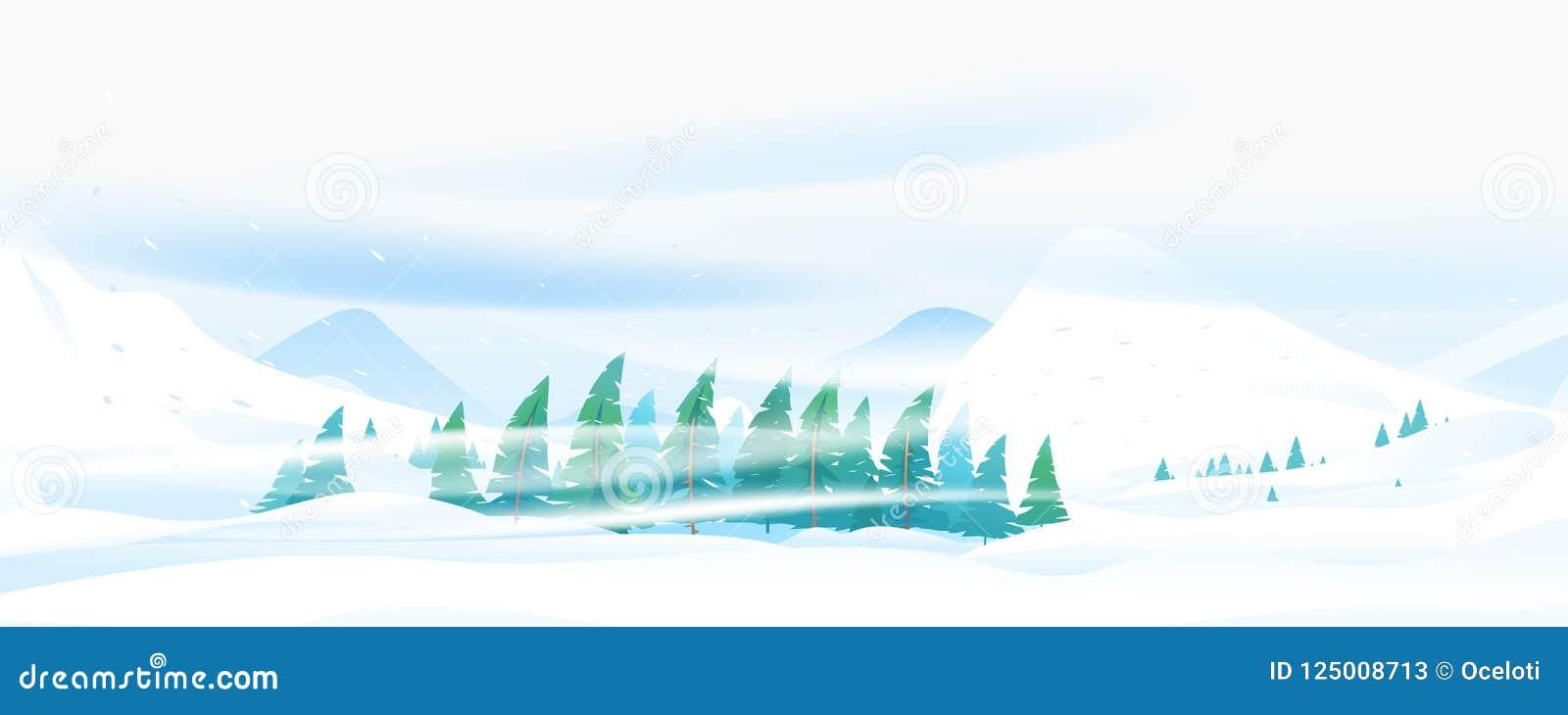 Ventisca de la nieve en montaña