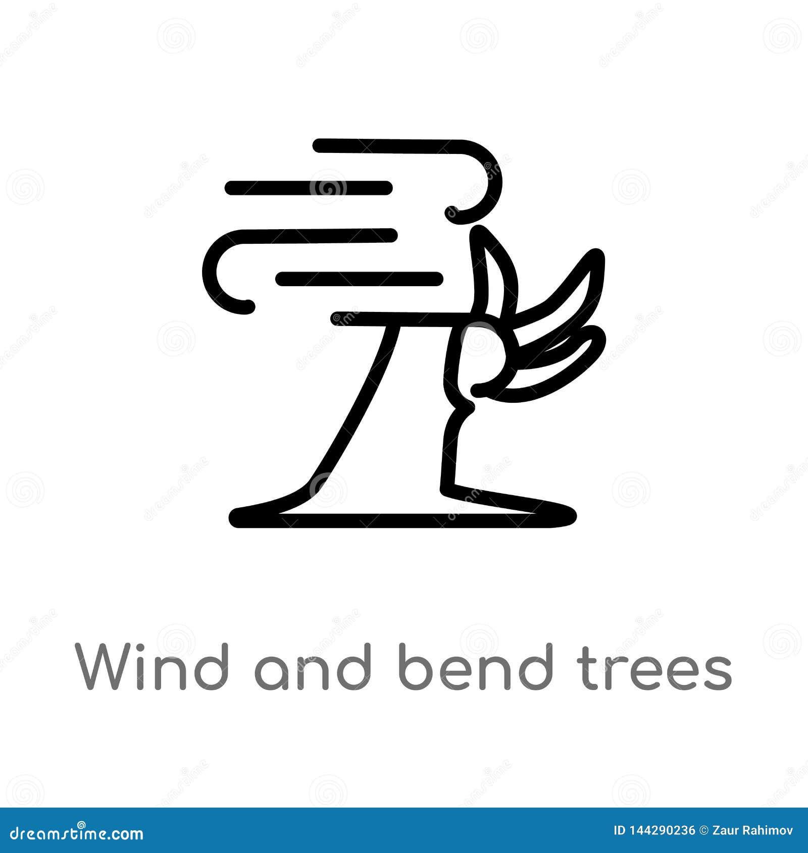 Vento del profilo ed icona di vettore degli alberi della curvatura linea semplice nera isolata illustrazione dell elemento dal co