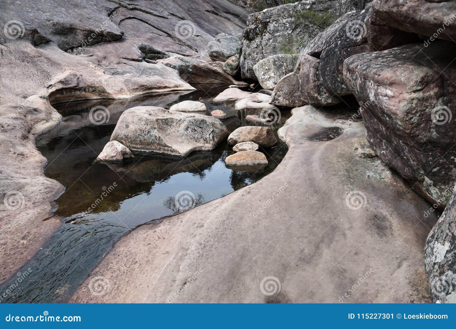 Venus baths, Rock formation shaped by river in Halls Gap, Grampians, Victoria, Australia