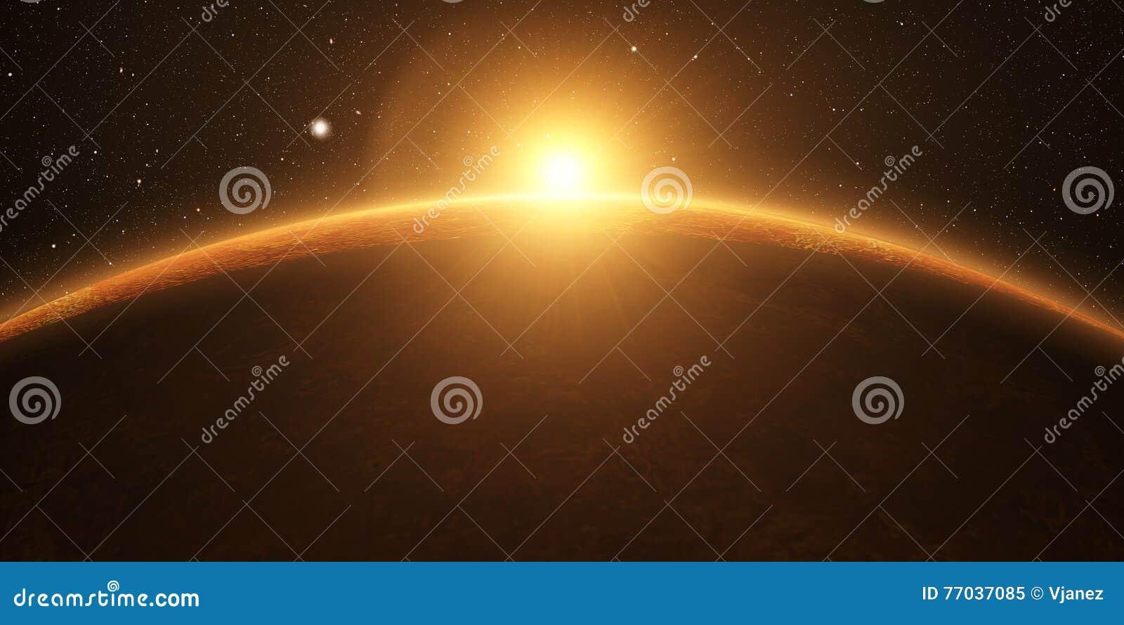 Venus Filmisk och mycket realistisk soluppgång