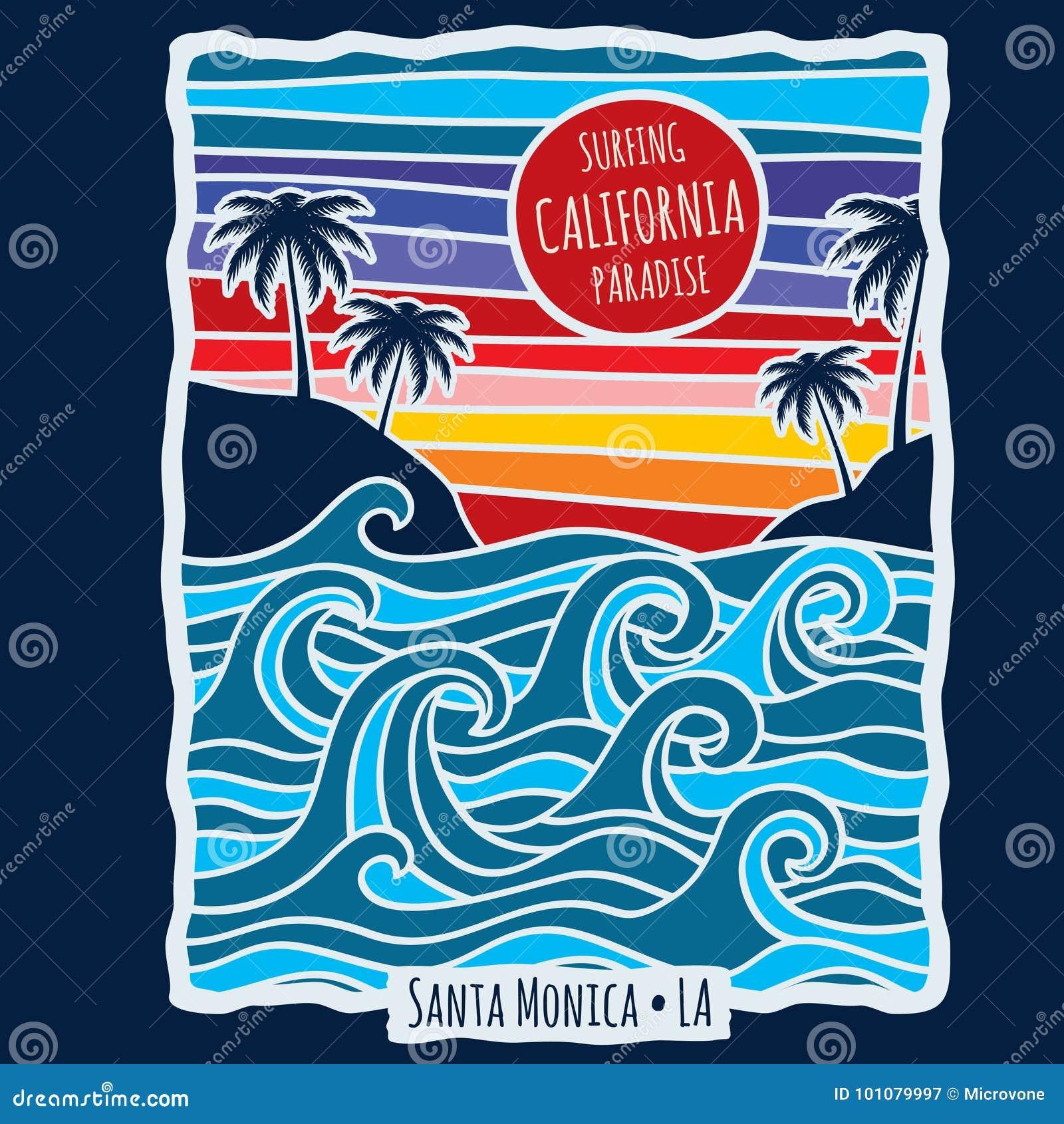 Verão Califórnia do vintage que surfa a ilustração do vetor do projeto da cópia da camisa de t