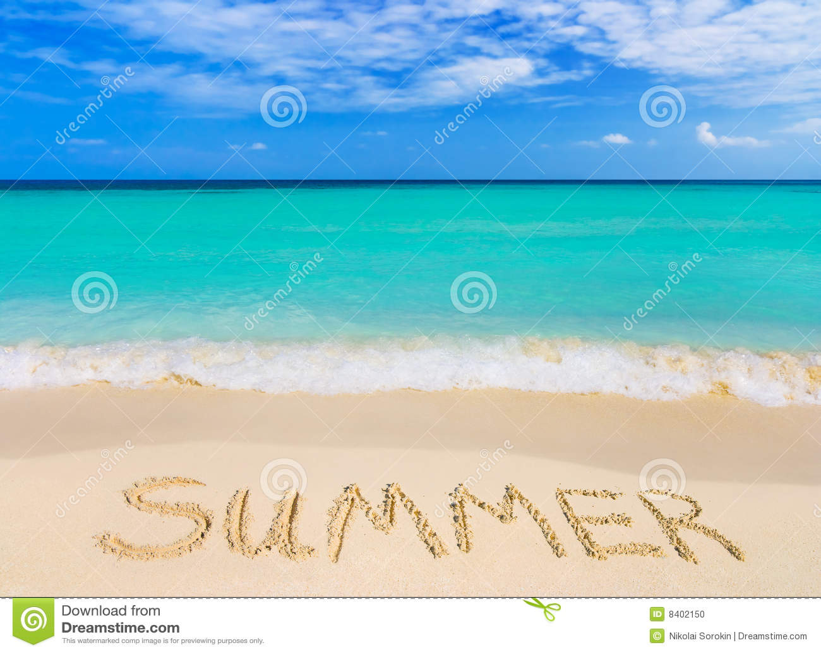 Verão da palavra na praia