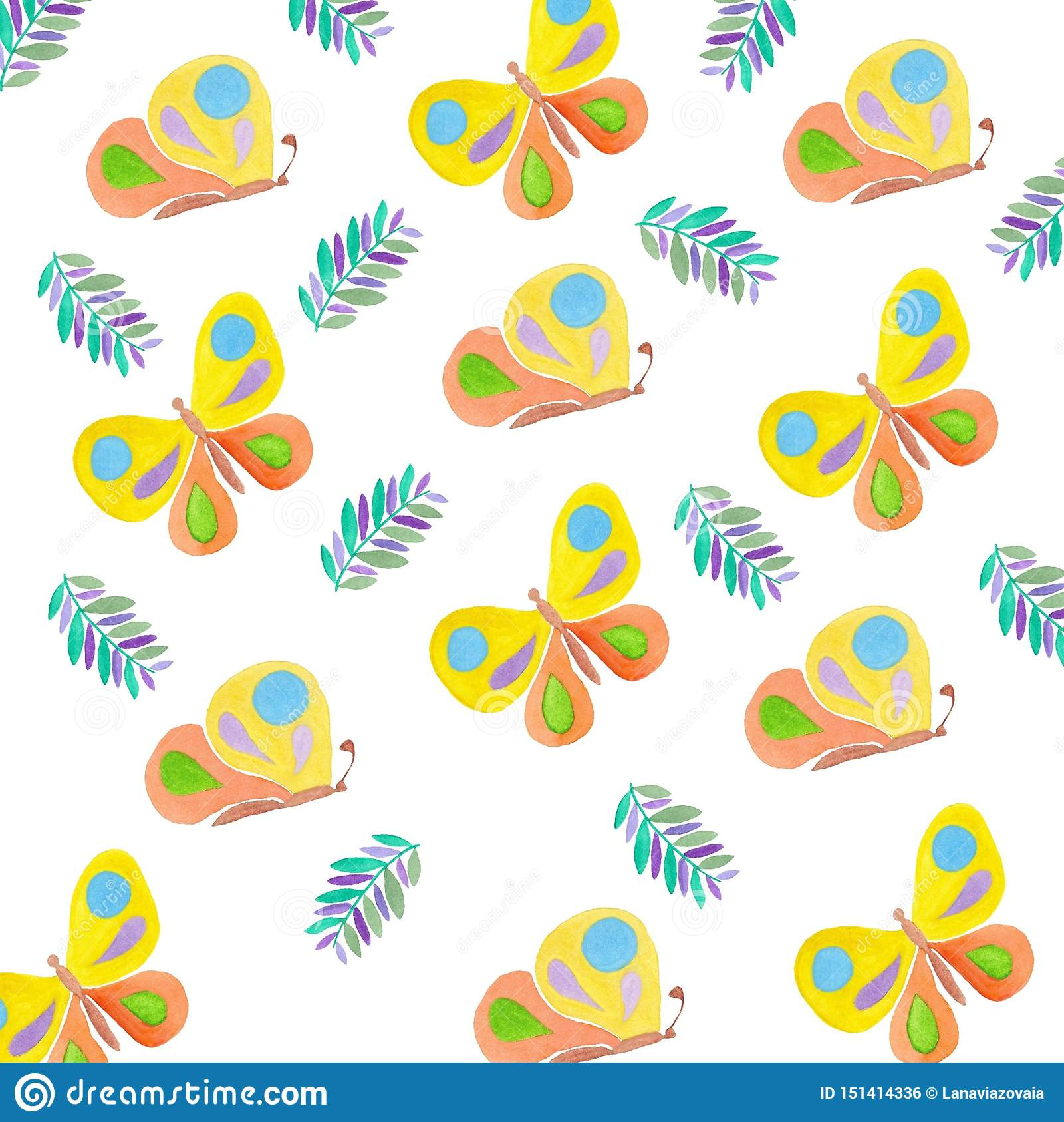 Verão de tiragem da aquarela dos insetos do teste padrão de borboletas