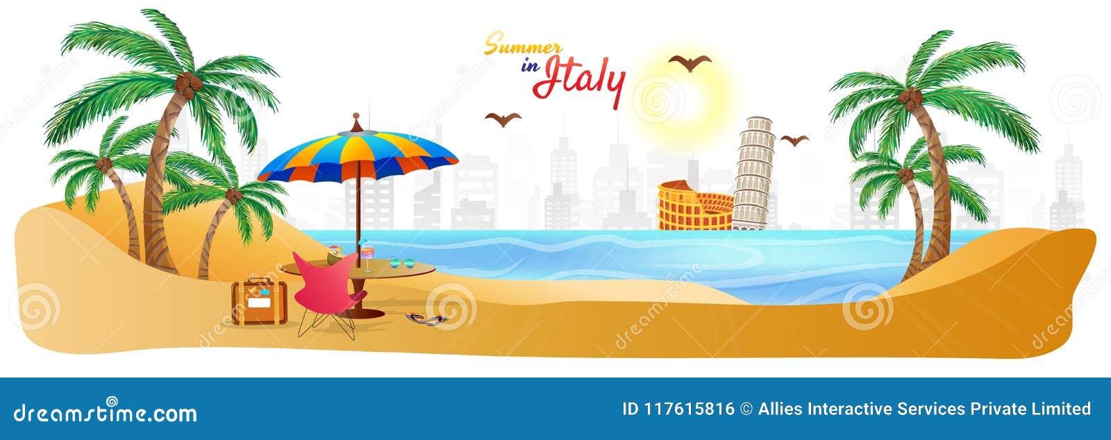 Verão no encabeçamento ou na bandeira da Web de Itália com os vagabundos à moda do curso do texto