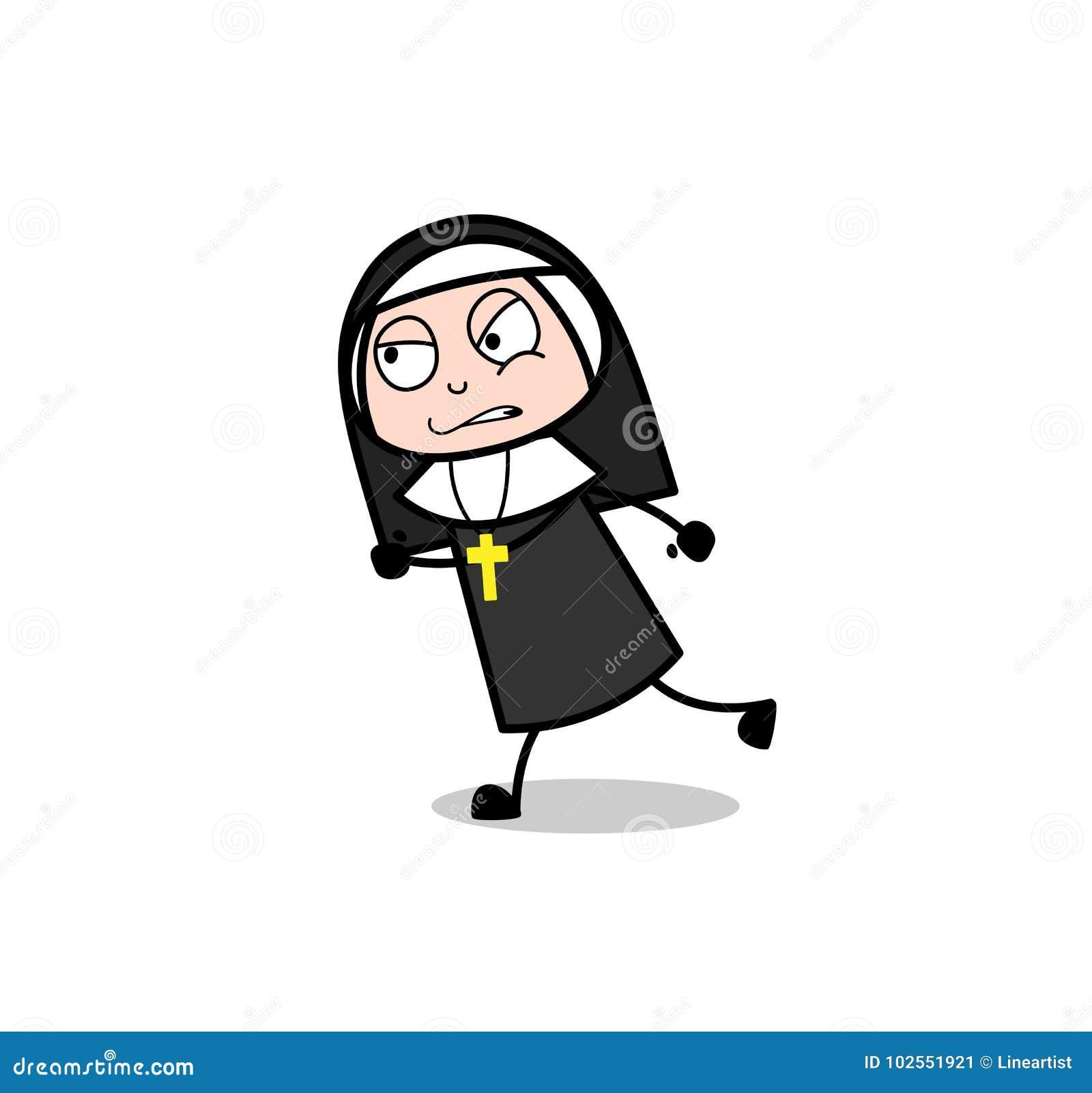 Verärgerte Karikatur-Nonne Running Vector