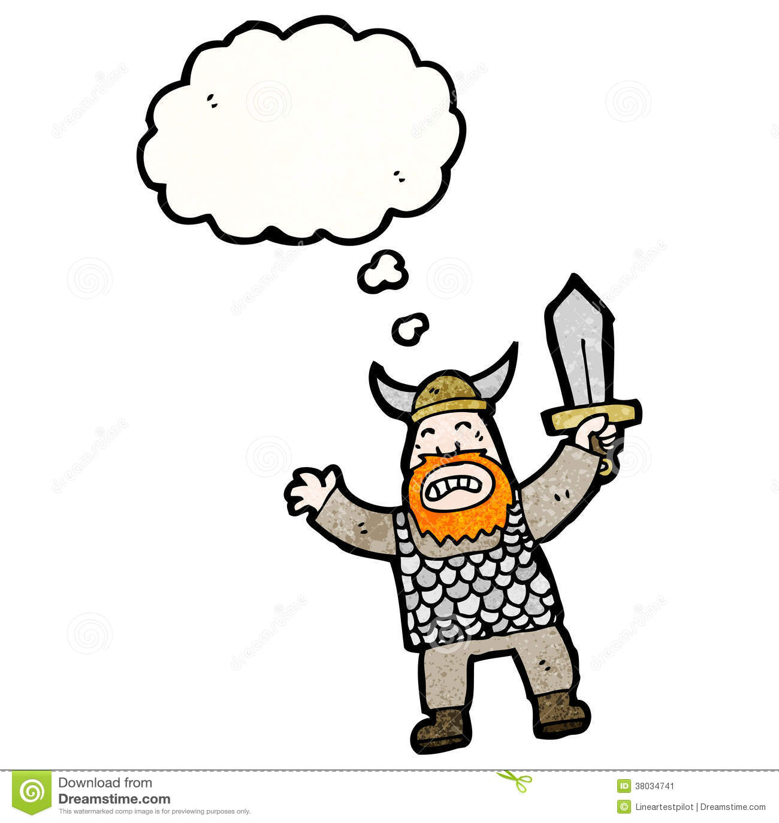 Verargerte Wikinger Zeichentrickfilm Figur Vektor Abbildung