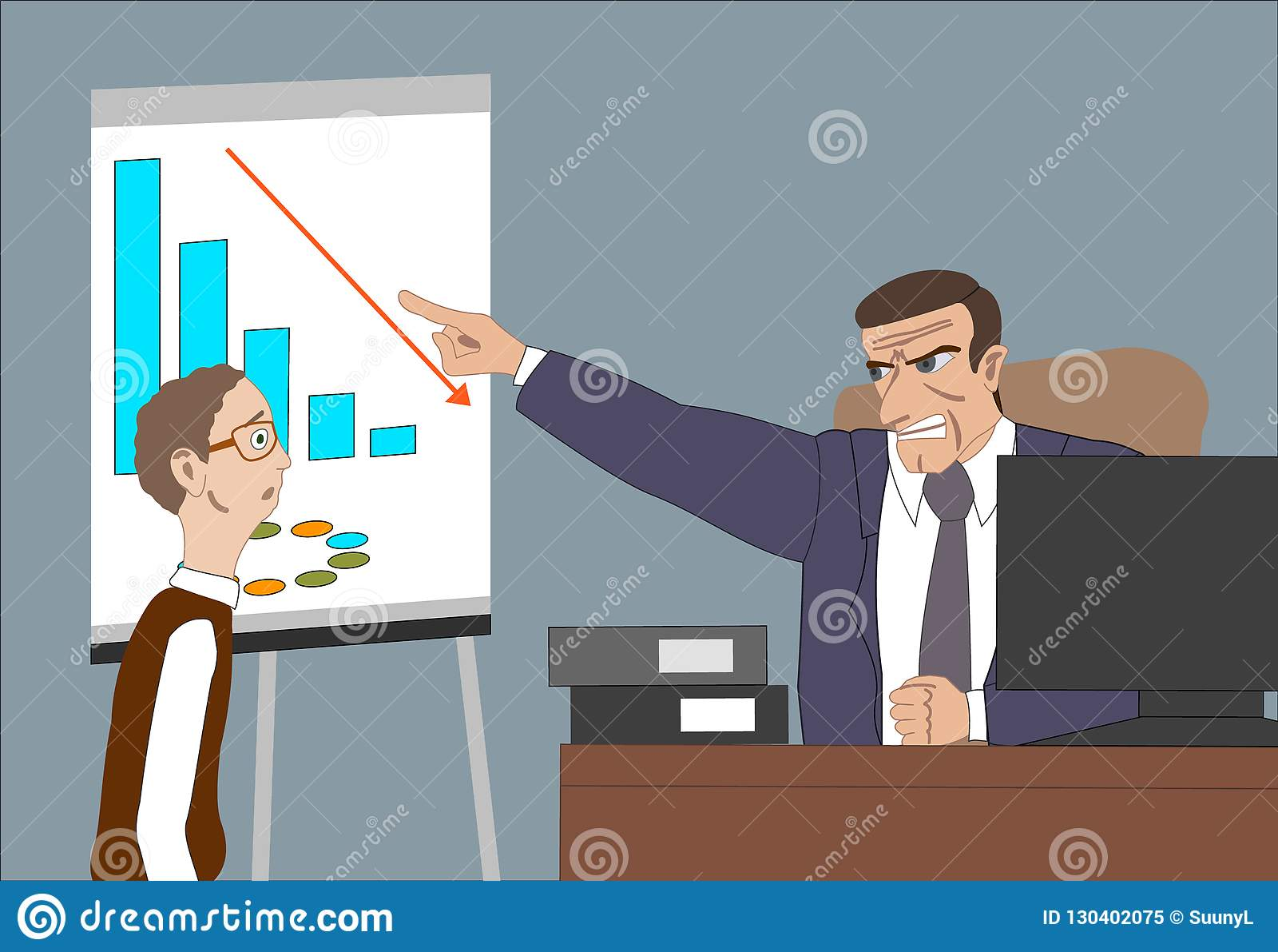 Verärgerter Chef mit Angestelltem Direktornsorgen über schlechte Ergebnisse und und Punkt am Diagramm am flipchart im Büro