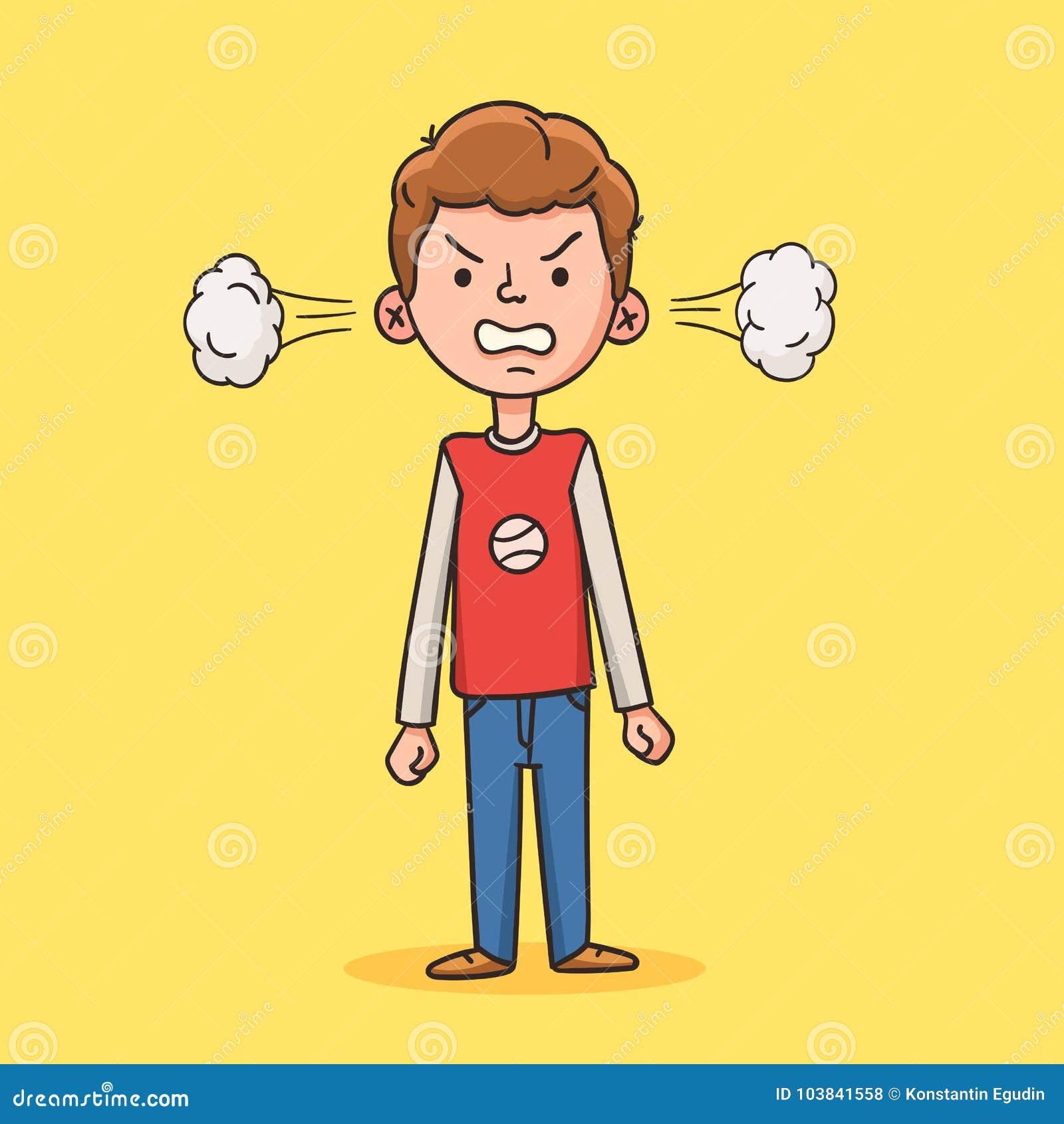 Verärgerter Junge in der Karikaturart