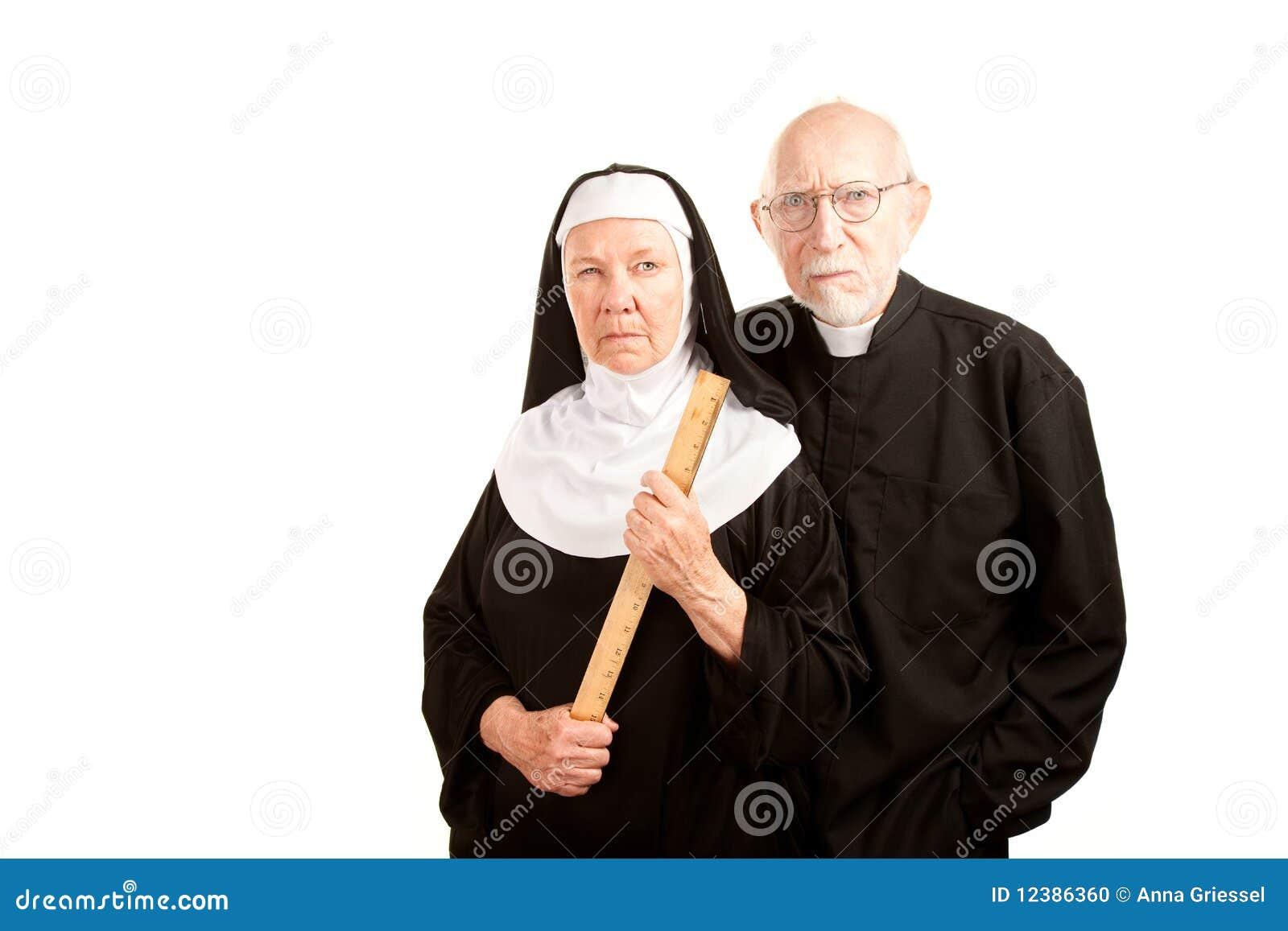 Verärgerter Priester und Nonne