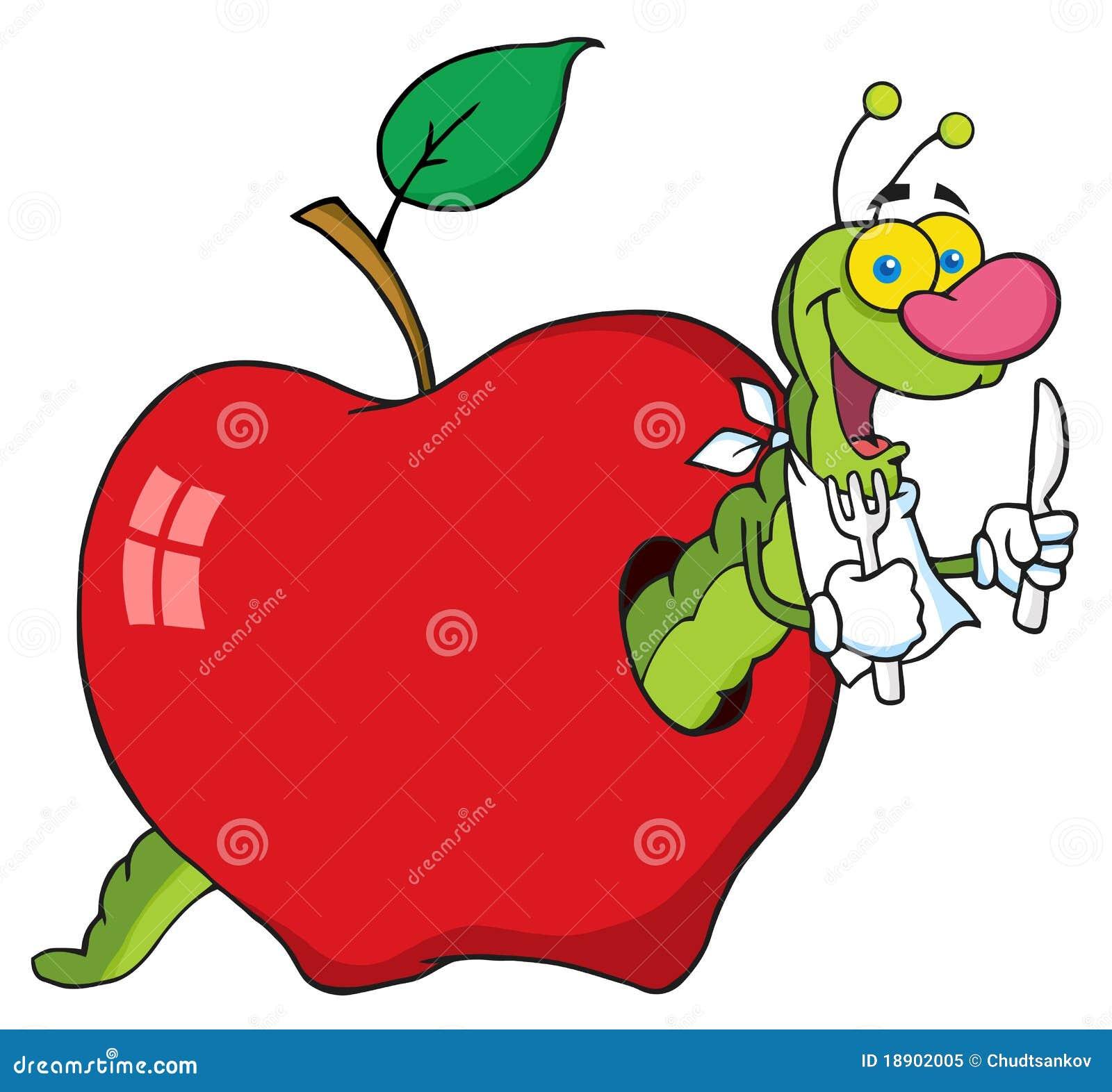 Ver De Terre Heureux Dans La Pomme Photo libre de droits ...