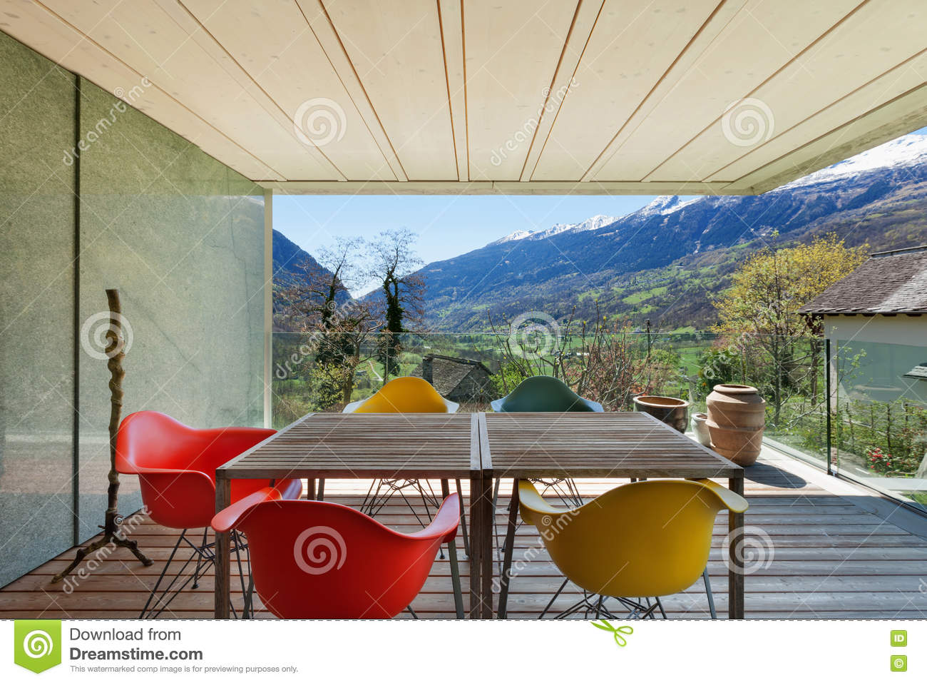 Veranda Of Modern House Stock Photo Image 73165852