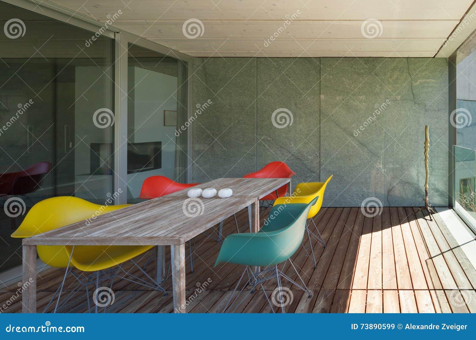 Architecture modern design veranda of mountain house