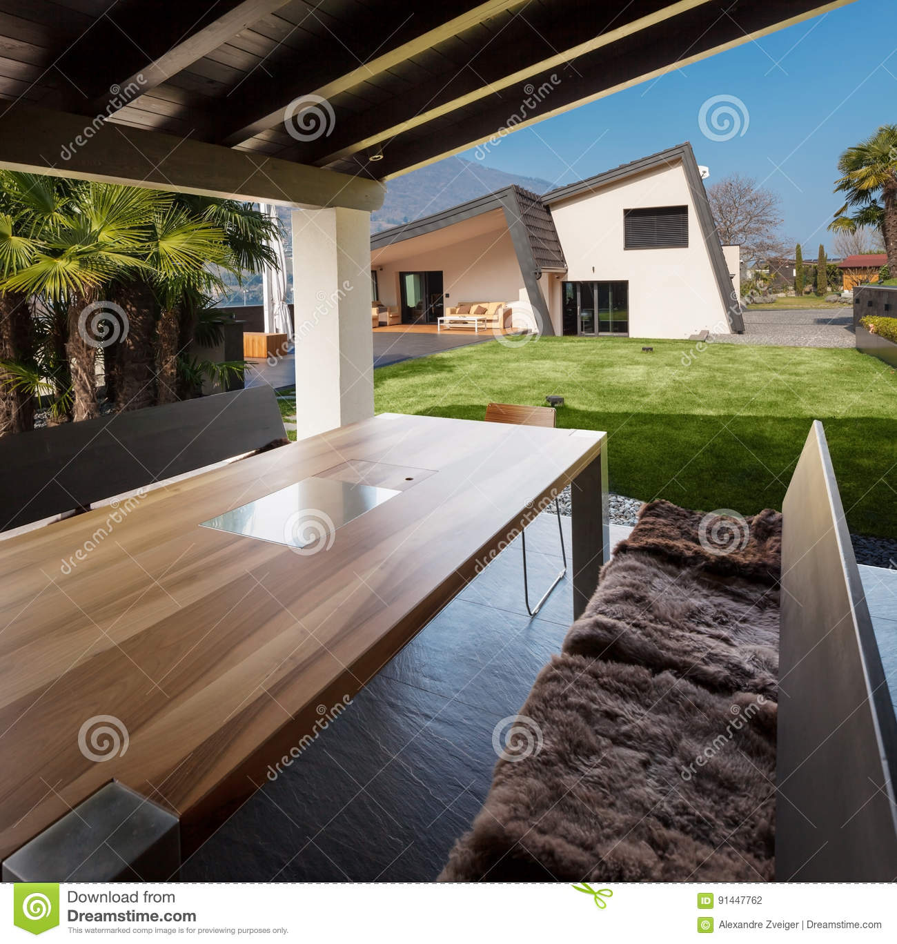Veranda Of Modern Villa Overlooking The Garden Stock Photo Image