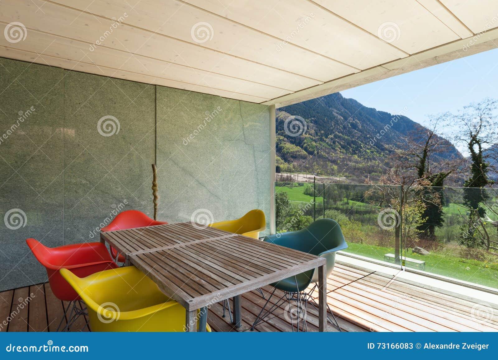 Veranda van modern huis stock afbeelding afbeelding bestaande uit