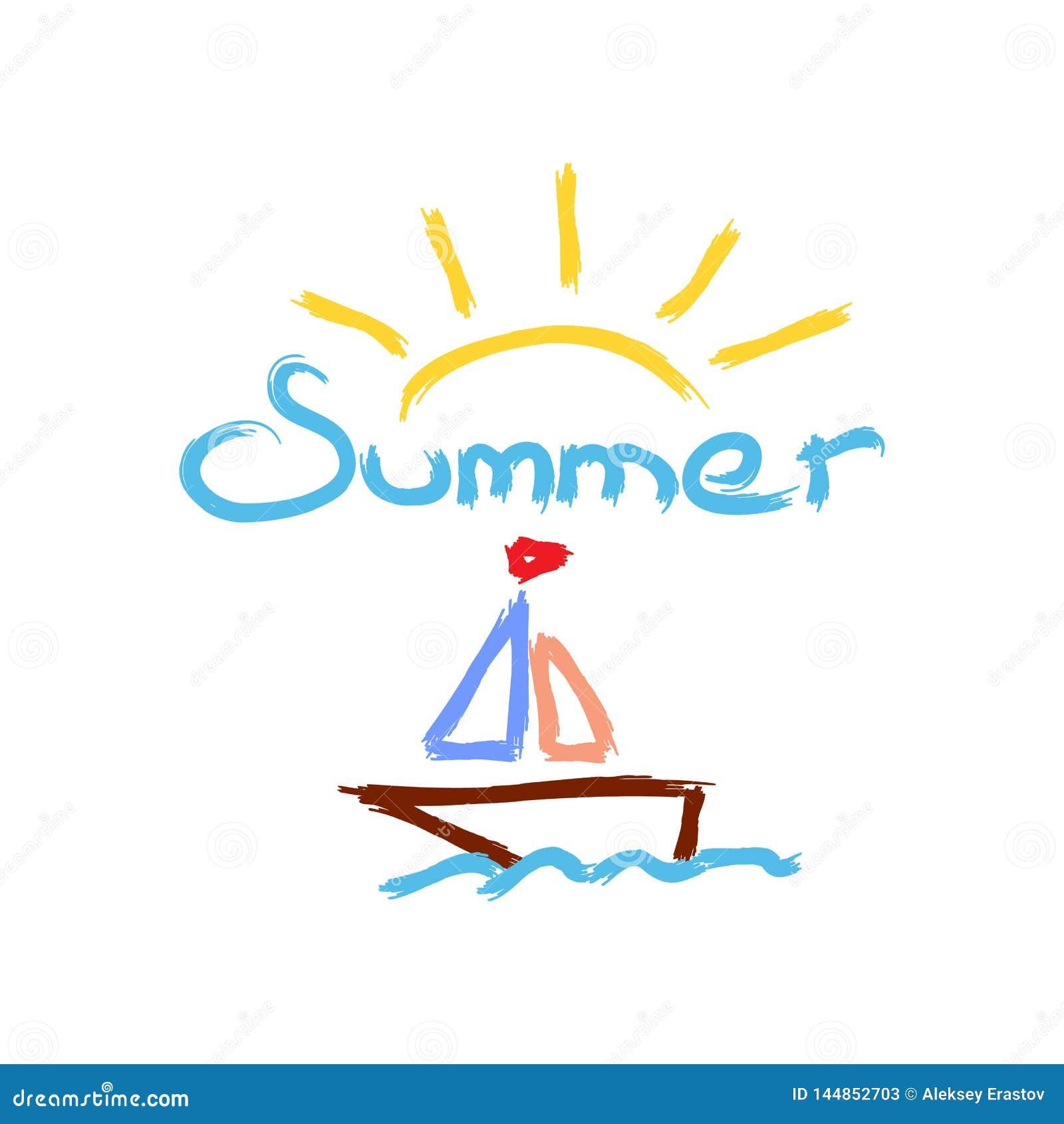 Verano de Sun, del velero y del texto pintado con el cepillo de la acuarela bosquejo dibujado a mano Ilustraci?n del vector