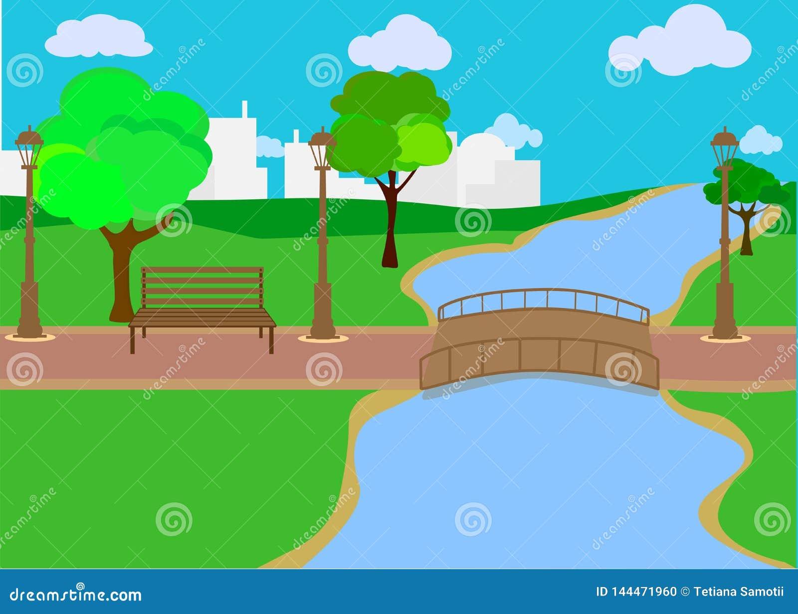 Verano, ejemplo del vector del d?a de primavera Lago o r?o con los ?rboles y los arbustos verdes enormes Colinas verdes, prados,