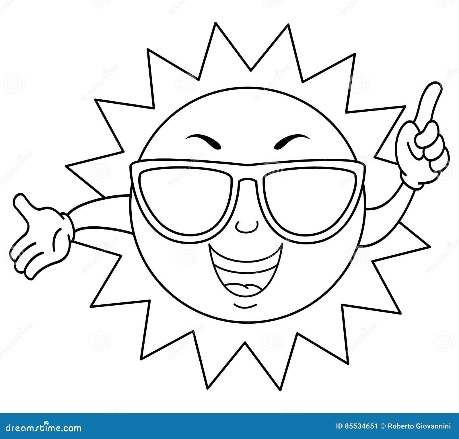 Verano Lindo Que Colorea Sun Con Las Gafas De Sol Ilustración del ...