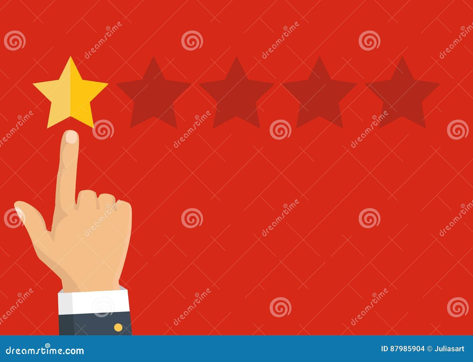Veranschlagende goldene Sterne Feedback, Ansehen und Qualitätskonzept