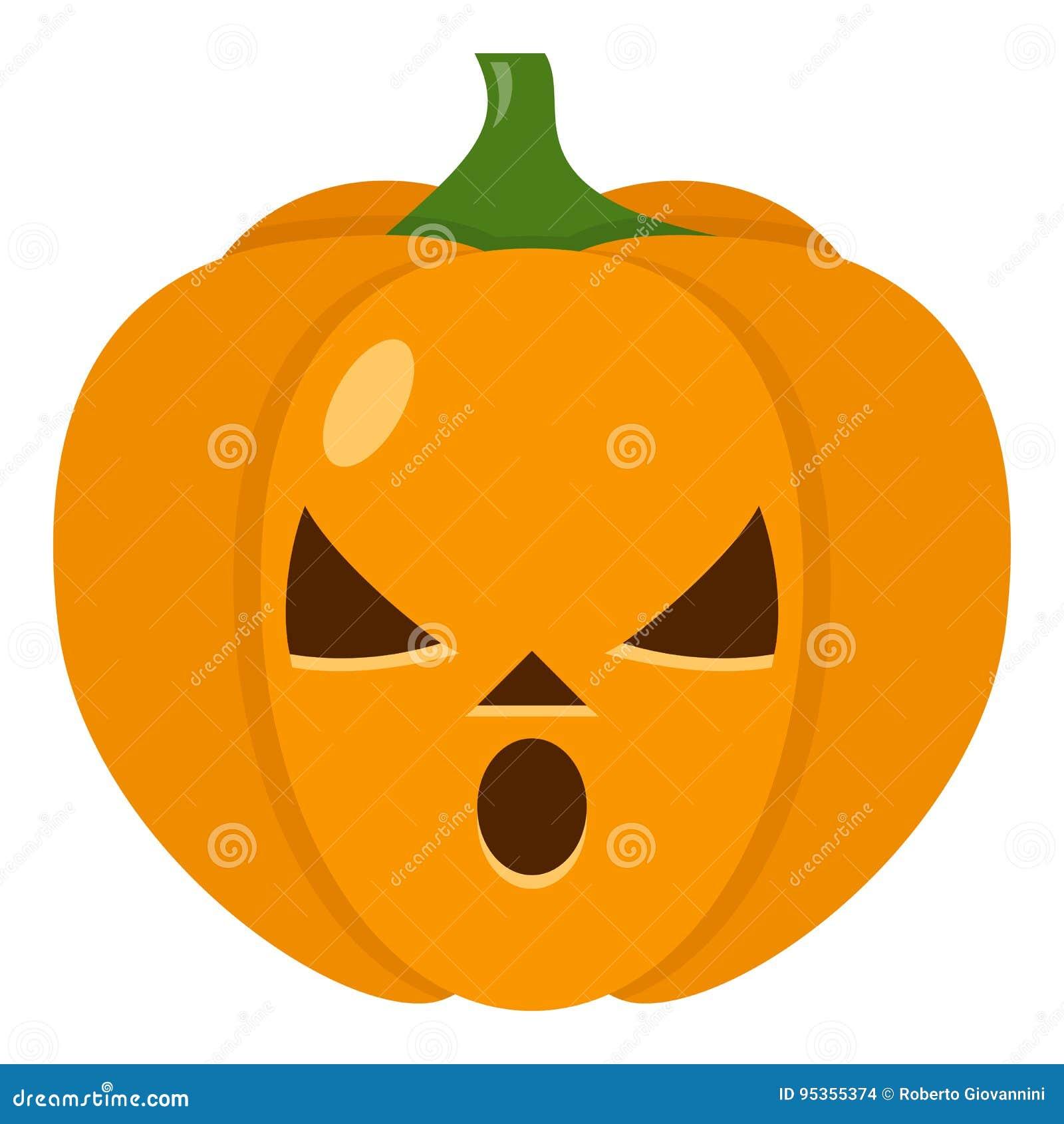 Halloween Tekeningen Pompoen.Verbaasd Halloween Pompoen Vlak Pictogram Vector Illustratie