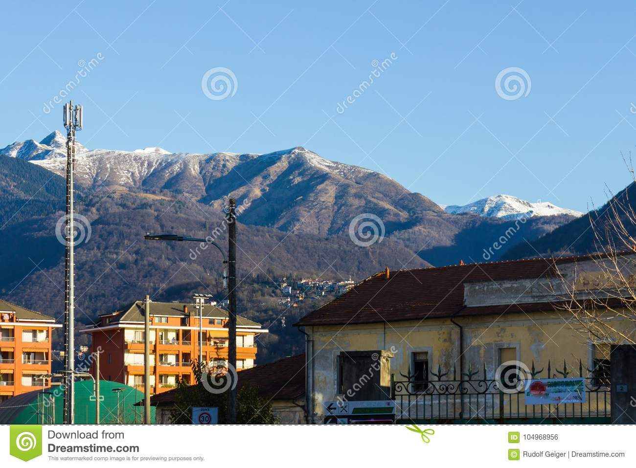 verbania lago maggiore lakeview at mountains and boulevard