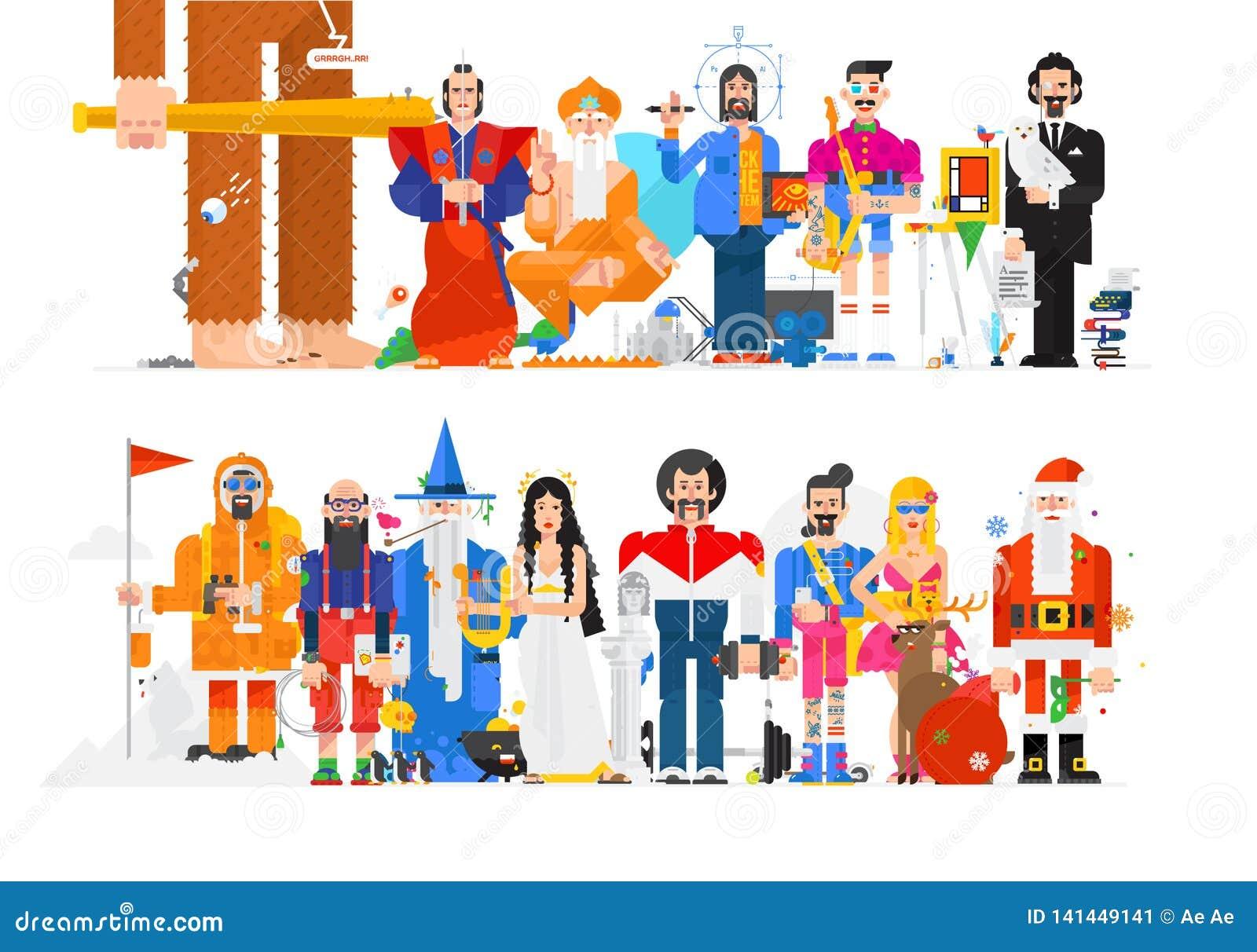 Verbazende illustratie van mensen in verschillende beroepen Vector vlakke illustratie Karakters op witte achtergrond worden geïso