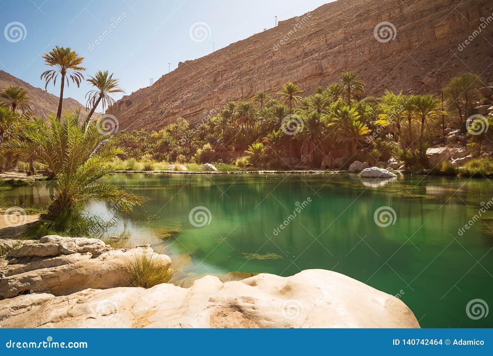 Verbazende Meer en oase met palmen Wadi Bani Khalid in de woestijn