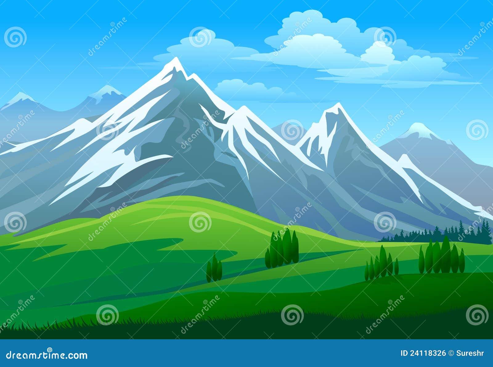 Verbazende sneeuw beklede berg en groene vallei