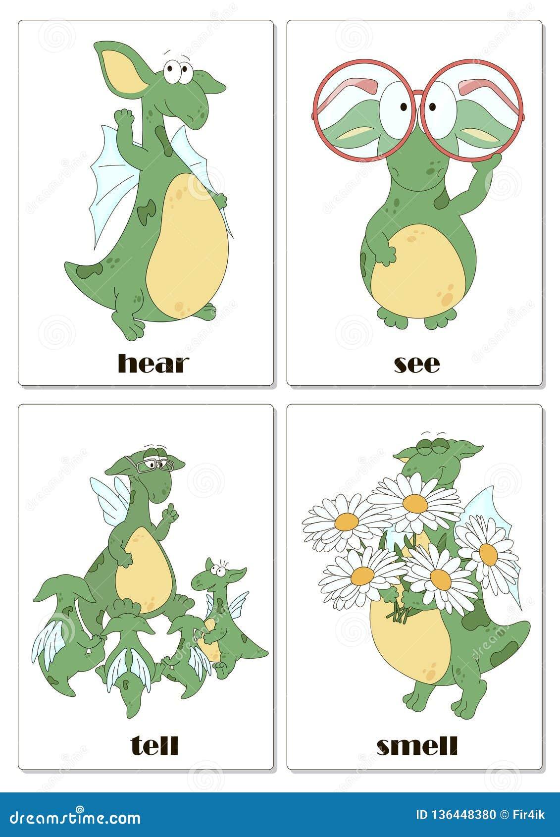 Verbes Anglais Irreguliers Avec Le Dragon Drole Illustration De Vecteur Illustration Du Avec Anglais 136448380