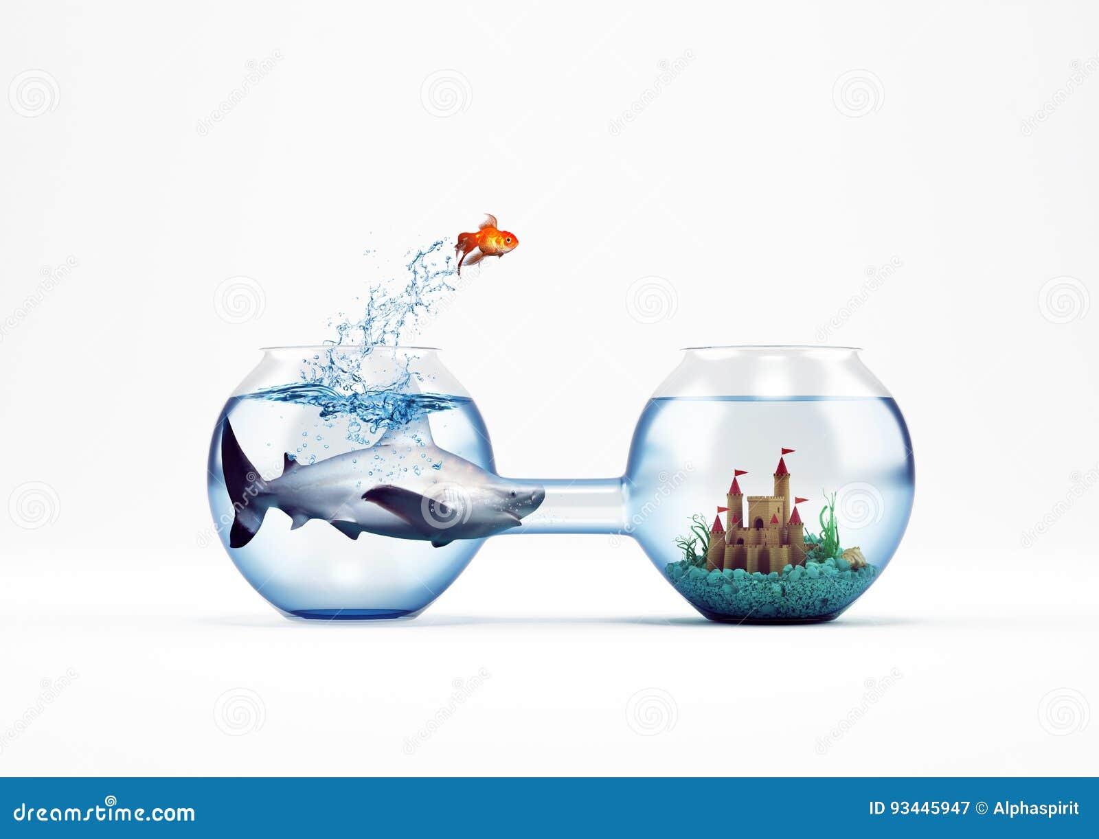 Verbetering en vooruitgangsconcept met een sprong van goudvis het 3D Teruggeven