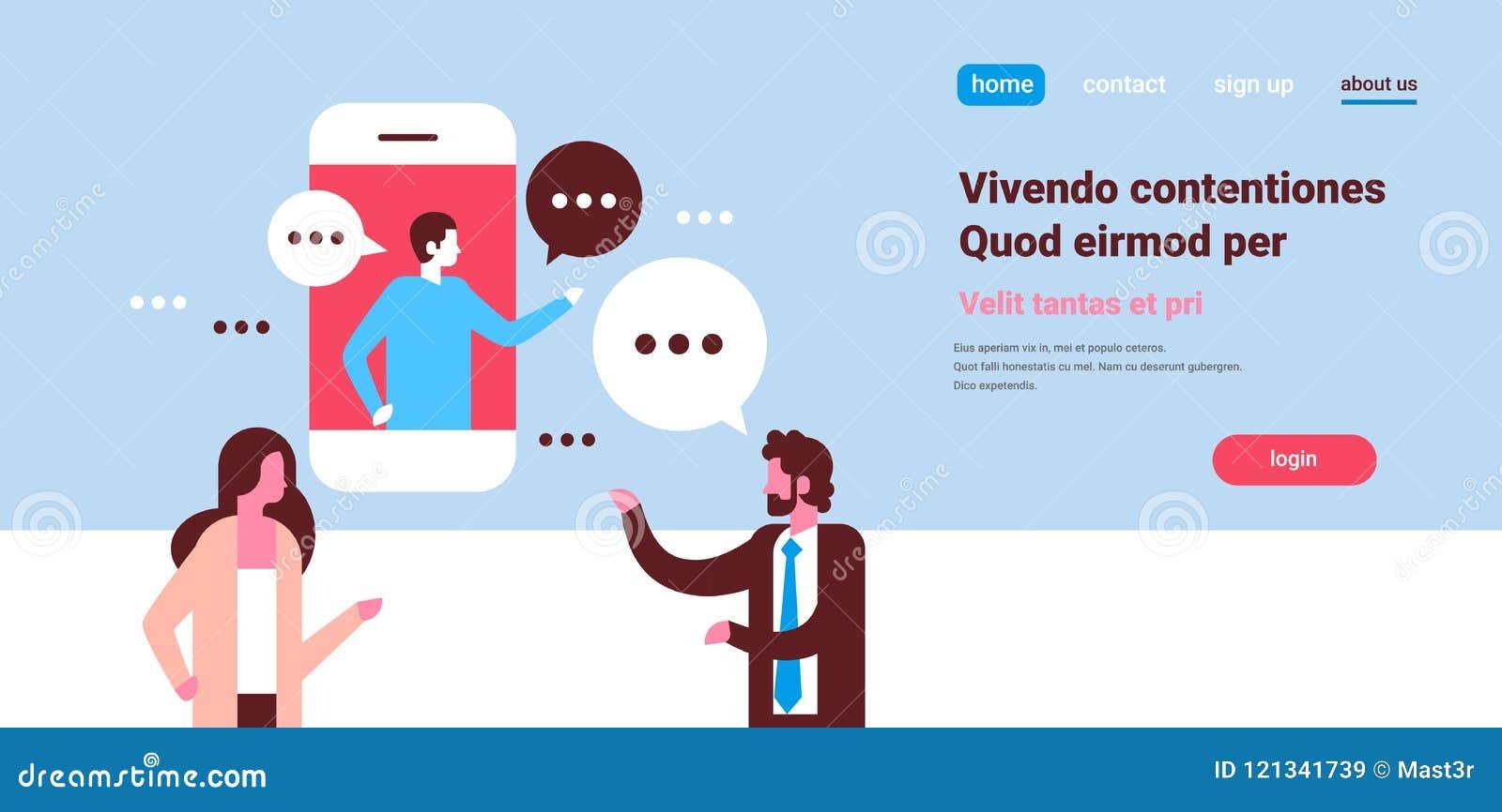 Verbinden Sie Sprachedialogmannfrauencharakterhintergrundporträt-Kopienraum der beweglichen Anwendung der Chatblasen in Verbindun