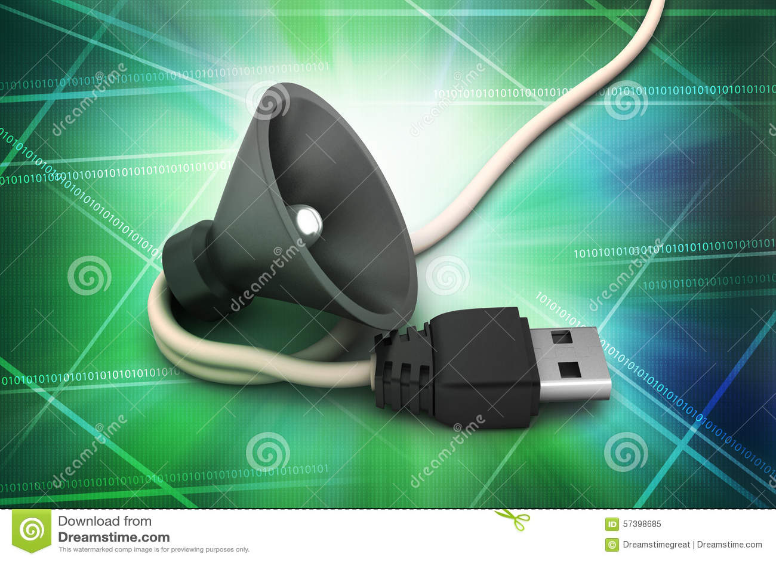 Verbindende kabel met luide spreker