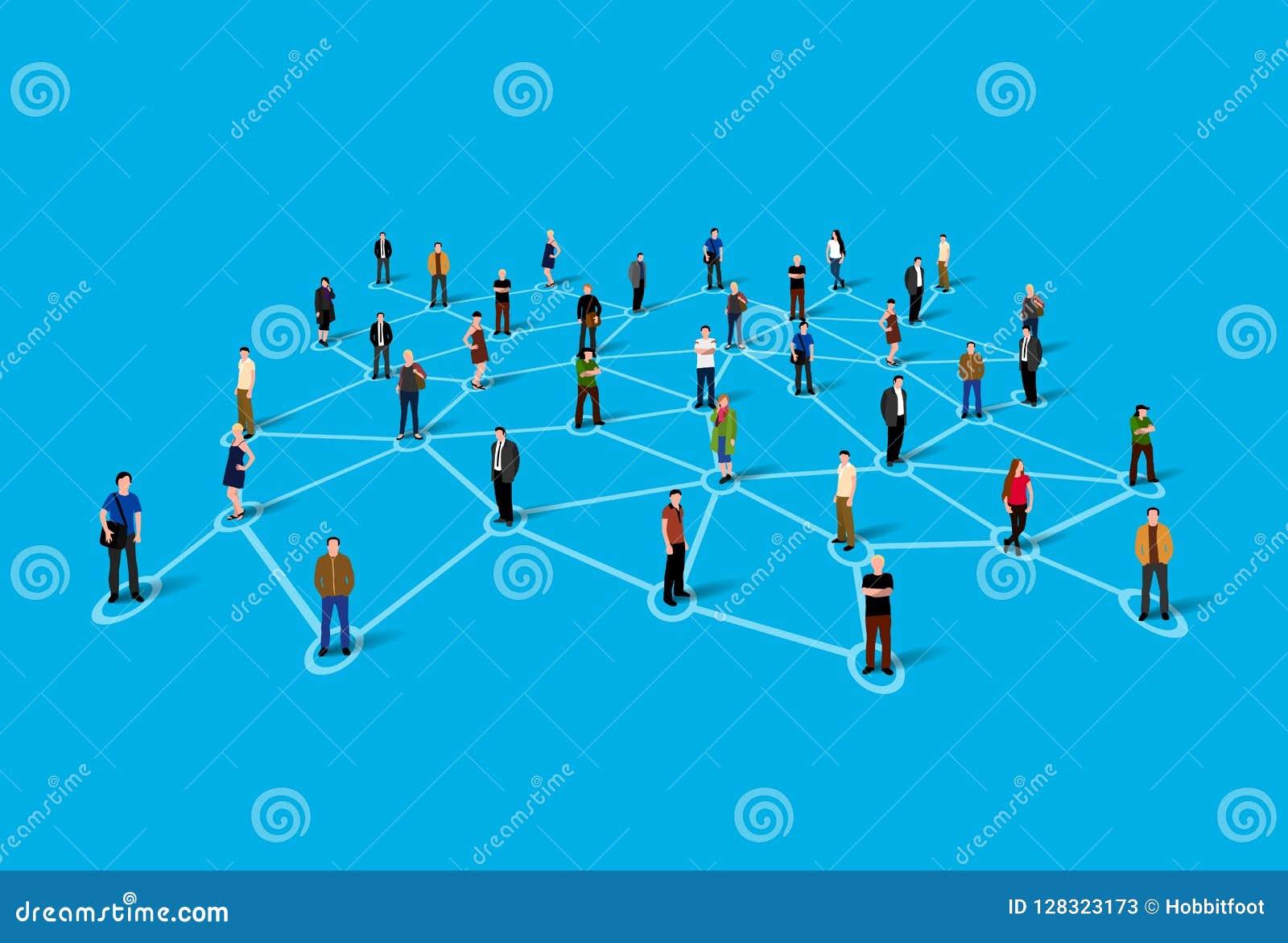 Verbindende mensen Sociaal netwerkconcept