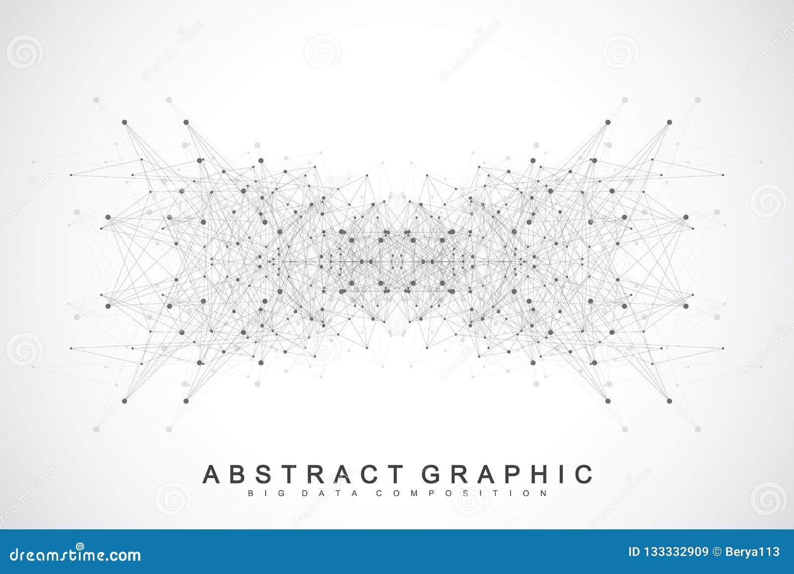 Verbindungen des globalen Netzwerks mit Punkten und Linien Vernetzungs- und Big Data-Sichtbarmachungshintergrund Futuristisches g
