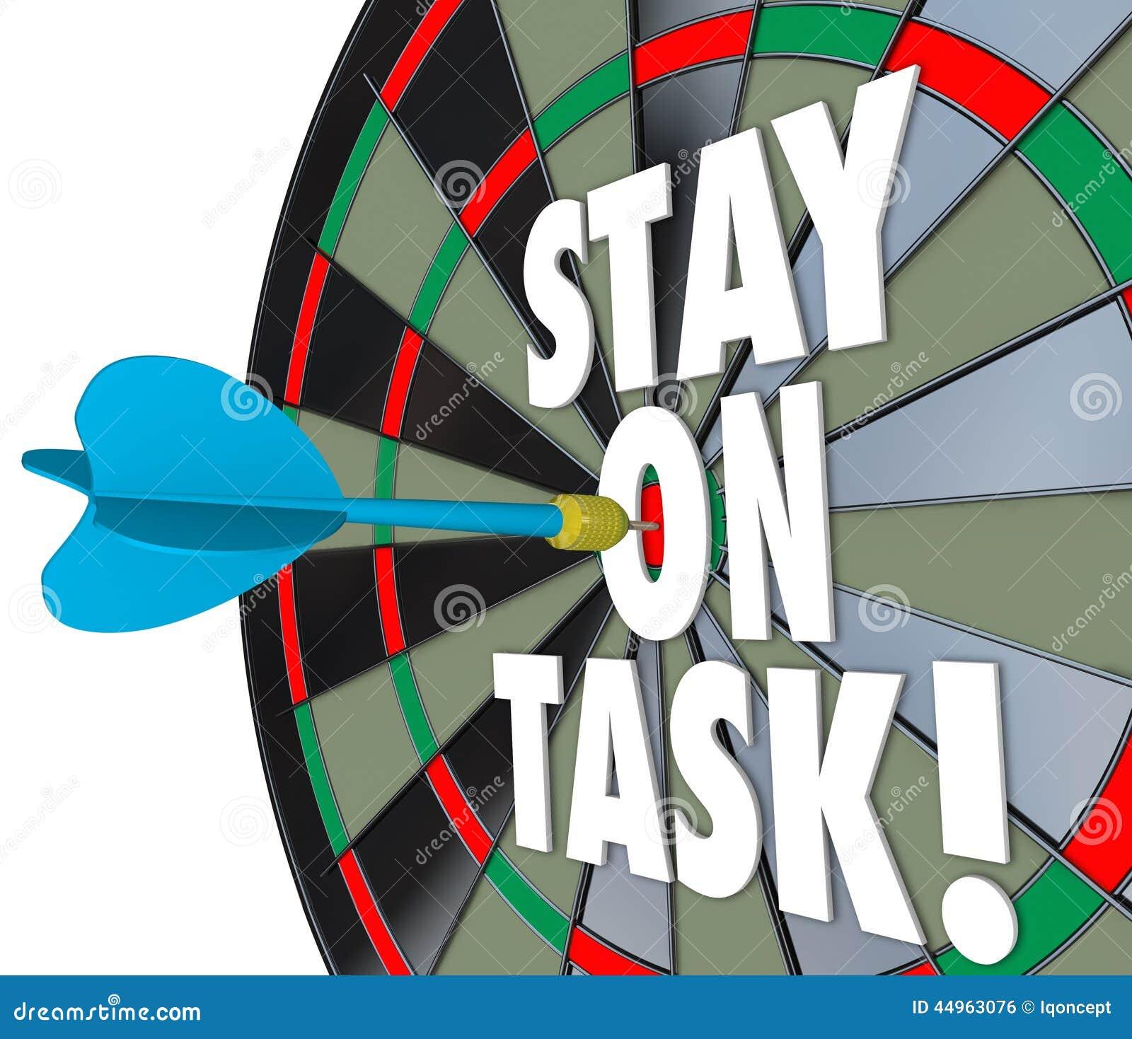 Verblijf op het Dartboard Volledige Baan van Taak 3d Woorden