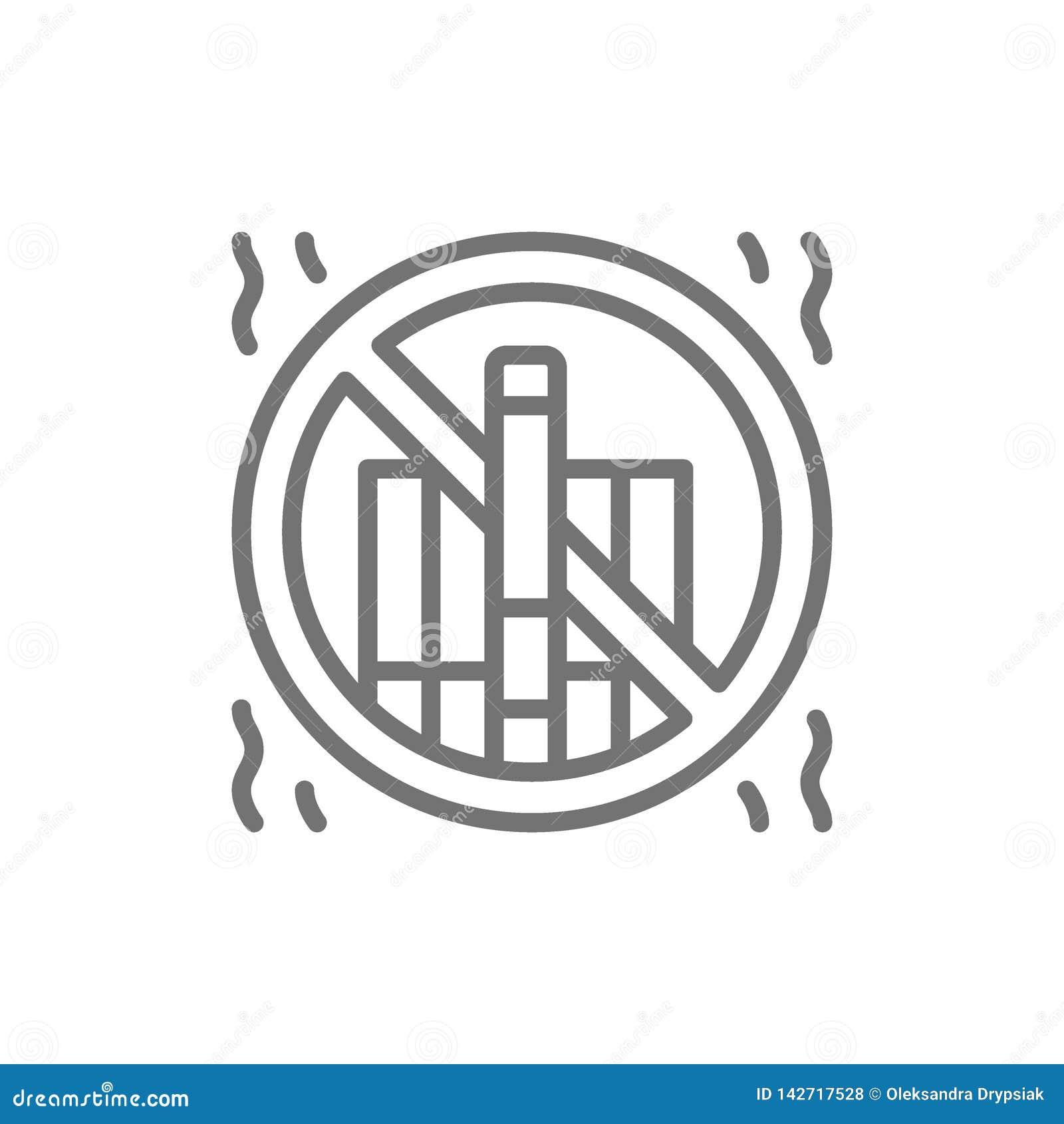 Verboden teken met sigaretten, nr - rokend lijnpictogram